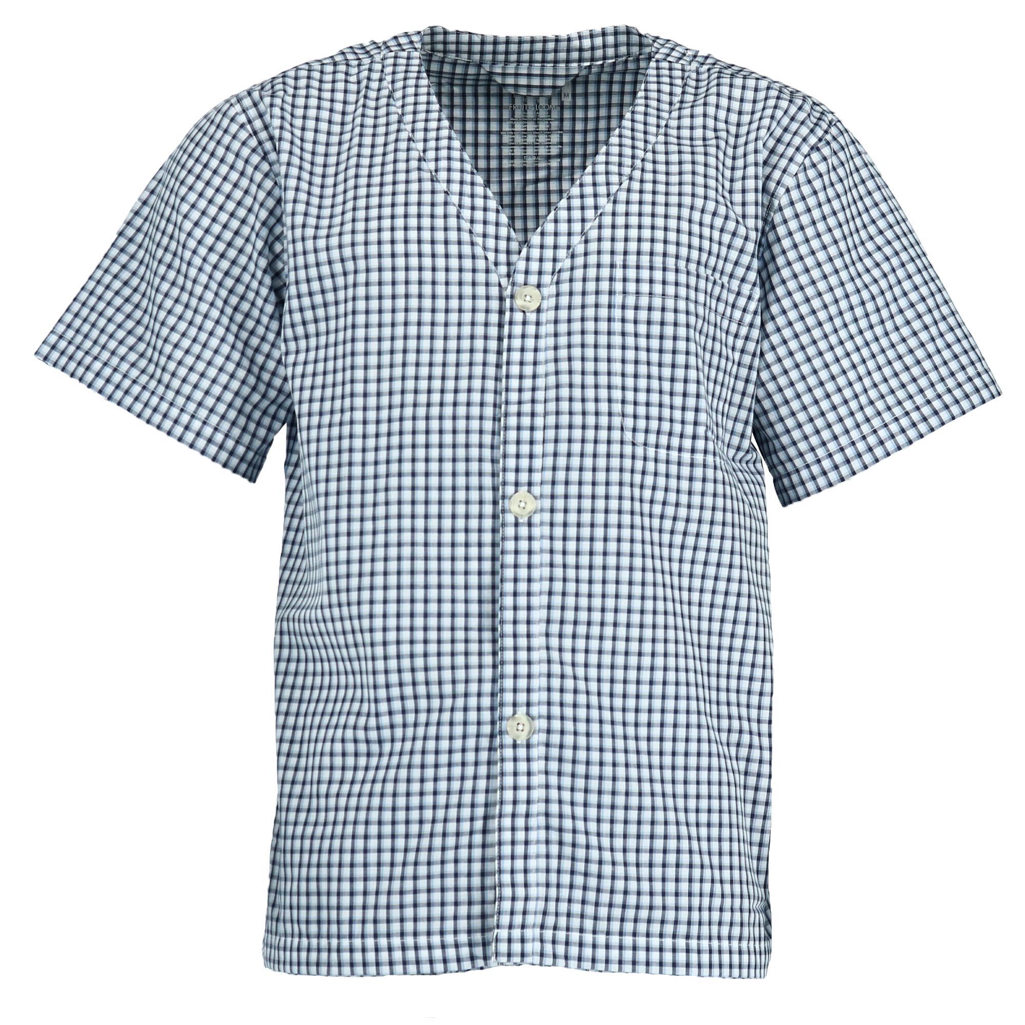New Fruit of the Loom Men/'s Short Sleeve Long Leg Pajamas Royal Blue Stripe