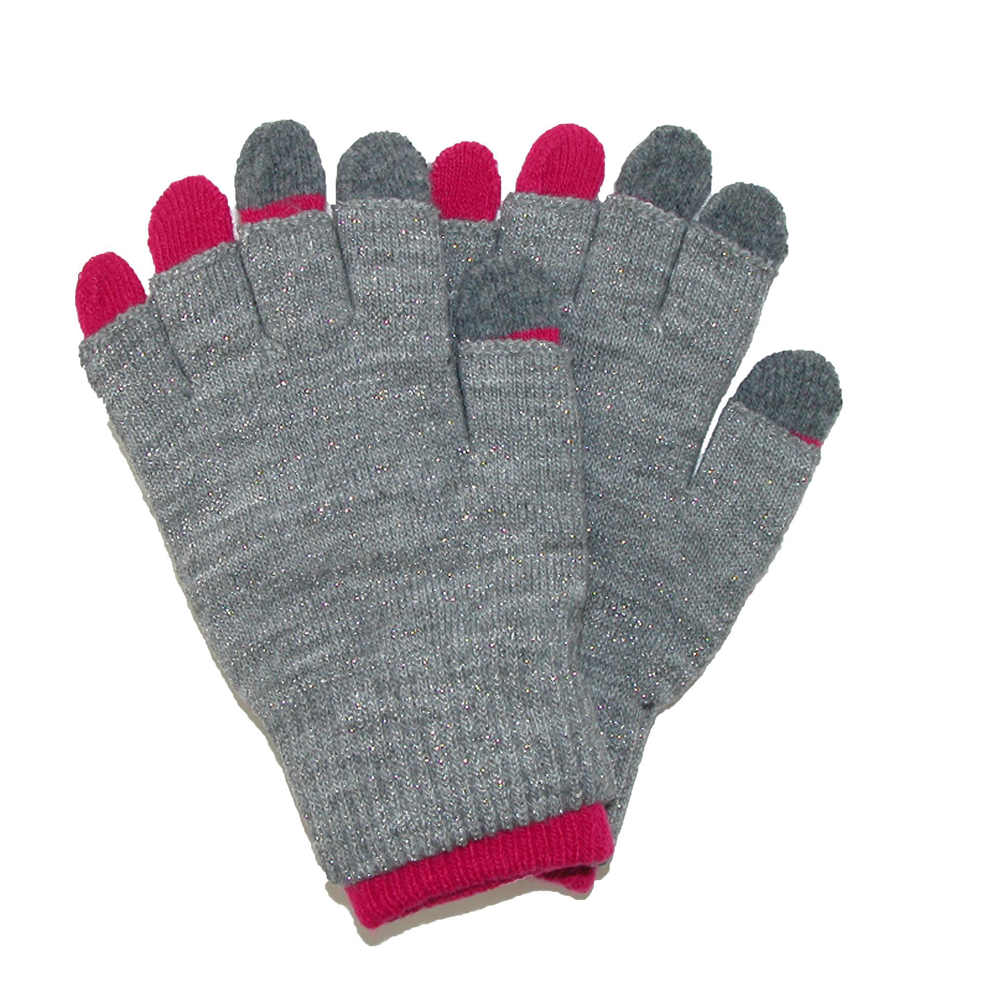 Ctm Womens Metallic 2 Piece Texting Gloves