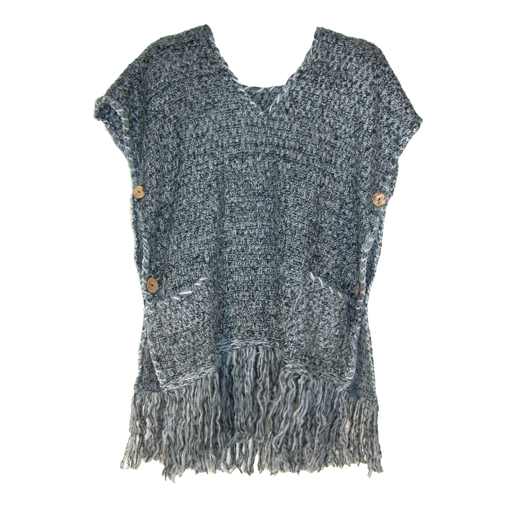 Ctm Womens Knitted Tunic Poncho With Fringe And Pockets