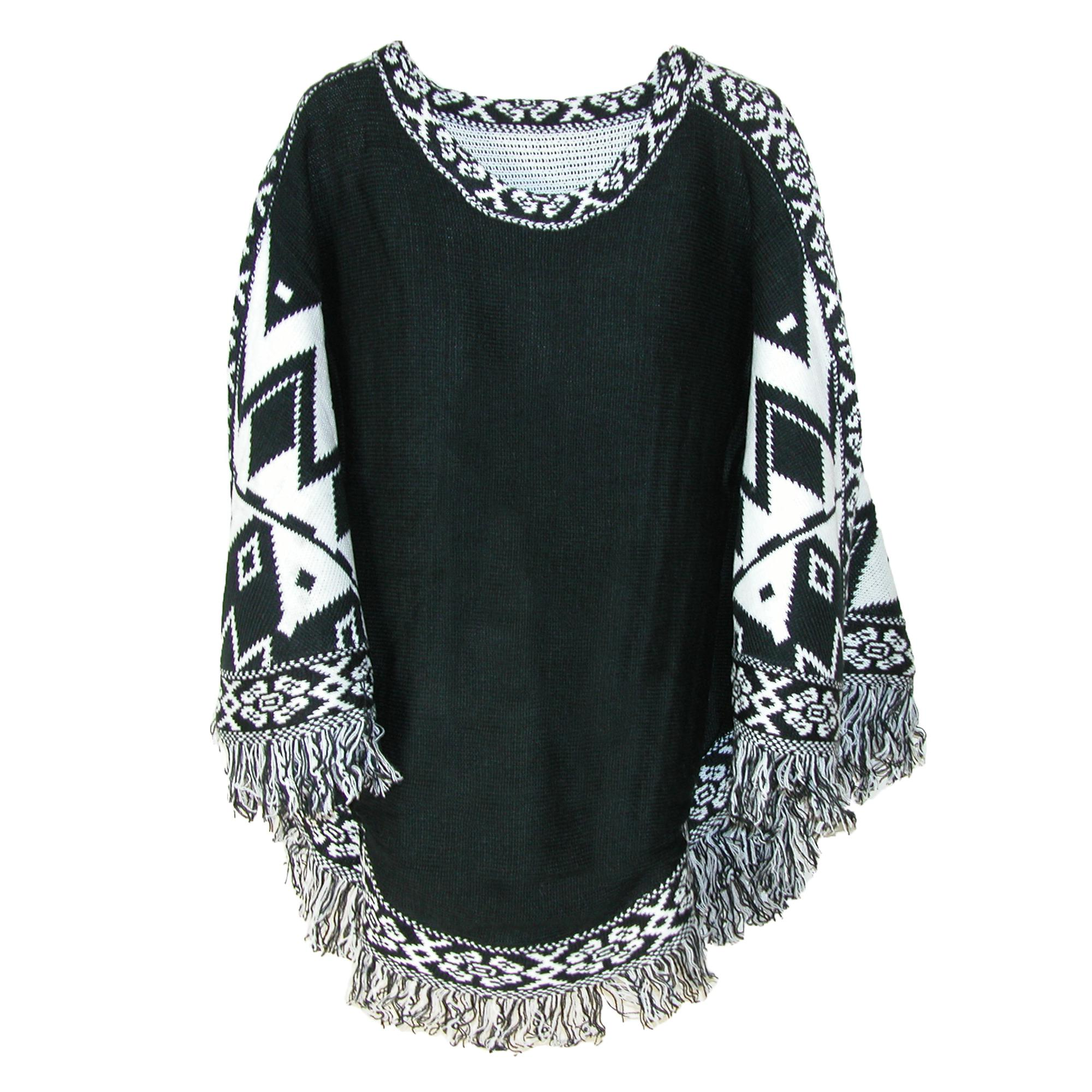 Ctm Womens Bohemian Poncho With Fringe