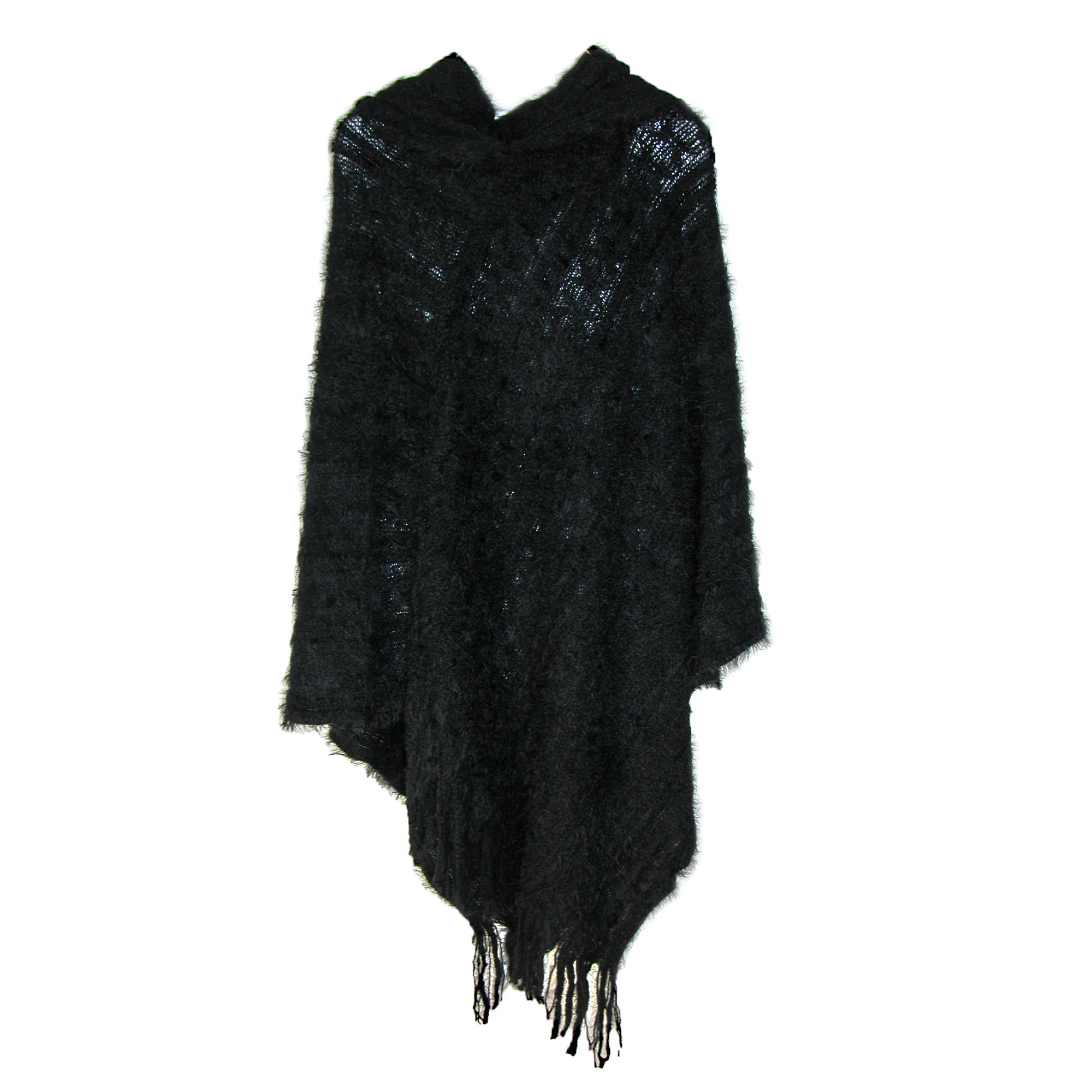 Ctm Womens Large Knit Hooded Poncho