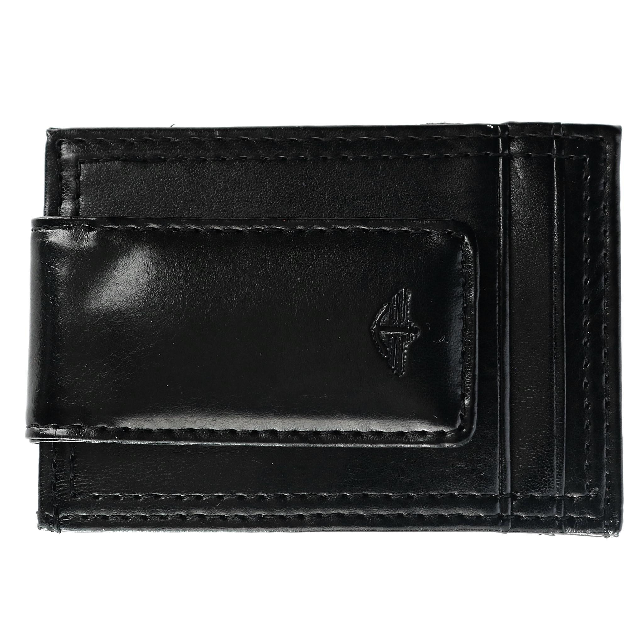 Dockers Men's Leather Slim Front Pocket Wallet With Magnetic Money Clip
