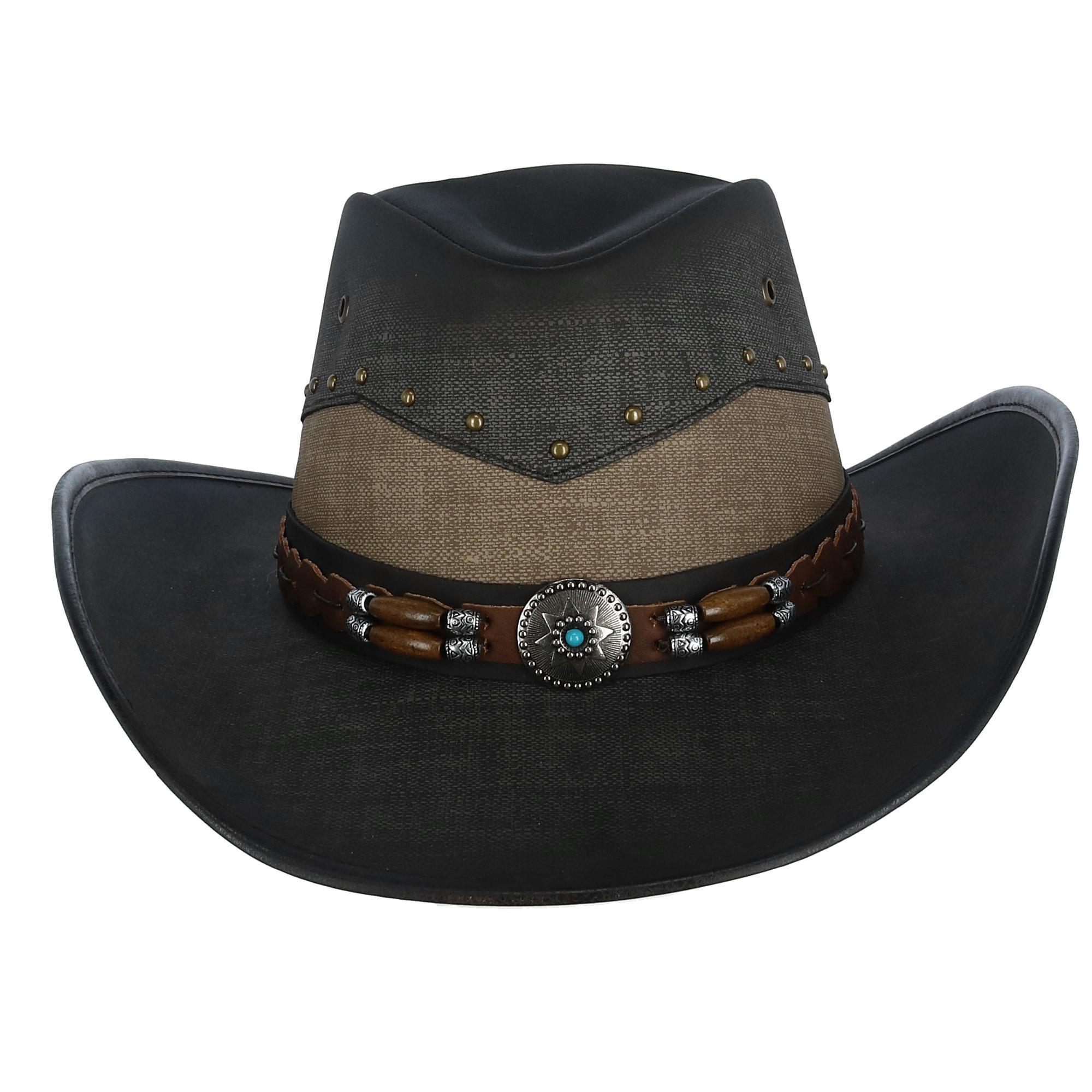 Details about New Kenny K Men's Vegan Leather Western Hat with Beaded  Hatband