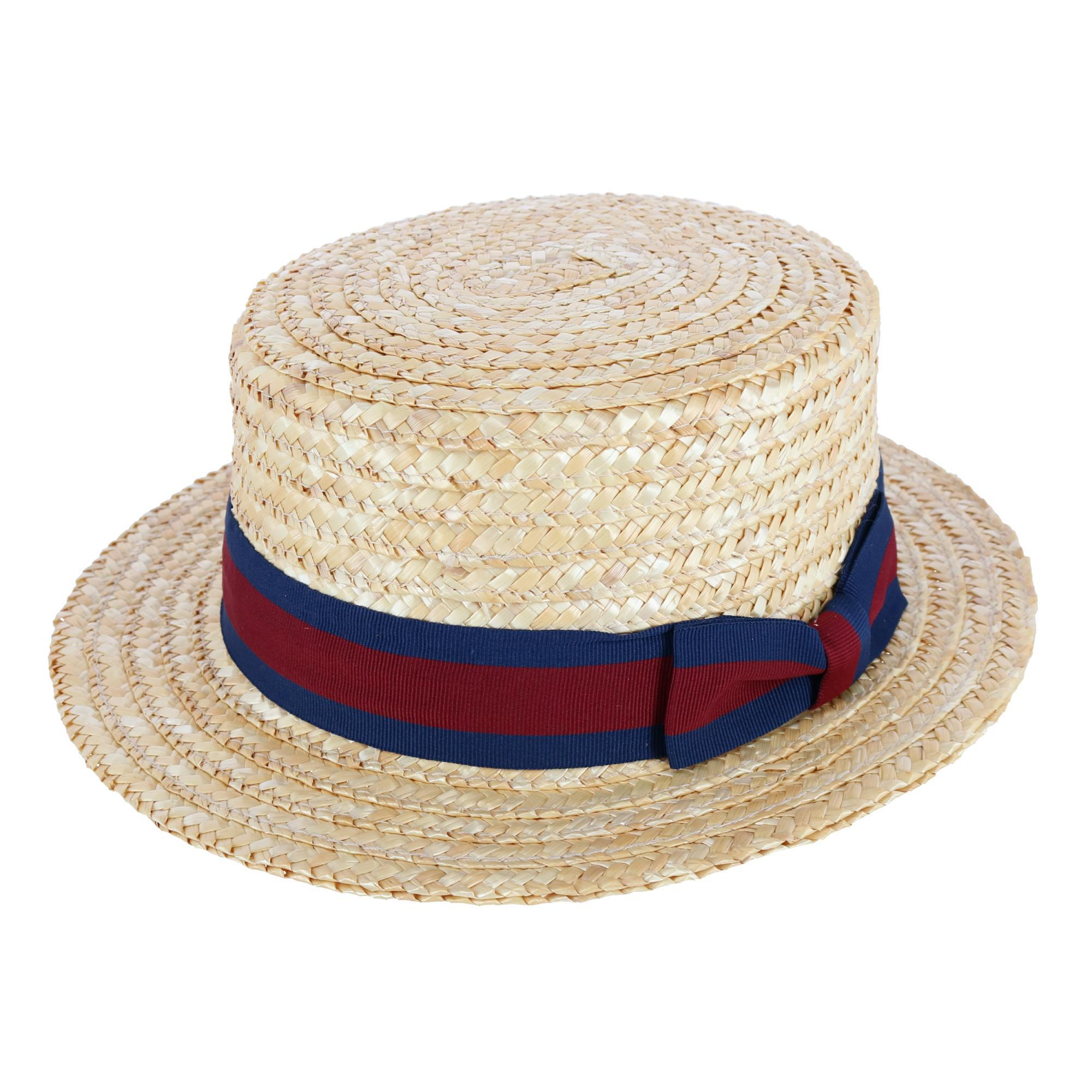 6c5bbe0a7f110 New CTM Straw 2.5 Inch Brim Boater Hat with Navy Band | eBay