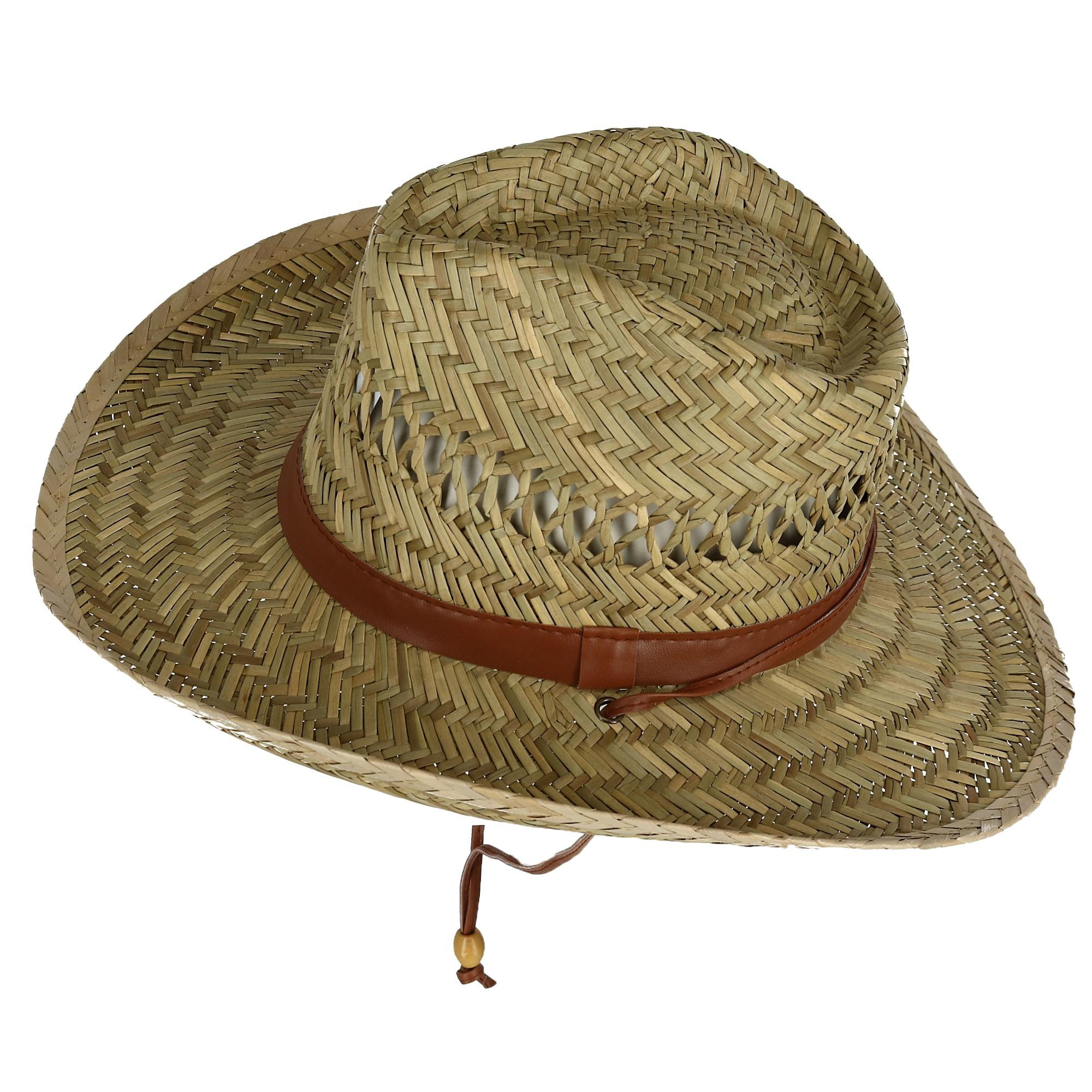 Kenny K Mens Rush Straw Lightweight Safari Hat with Chin Cord