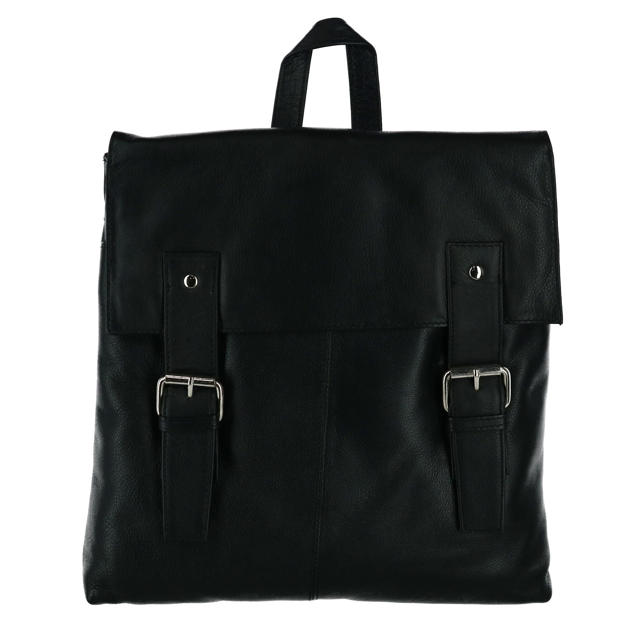 Leather Impressions Women's Magnetic Buckle Backpack Purse - Black one (LI-10204-BLK LI-10204) photo
