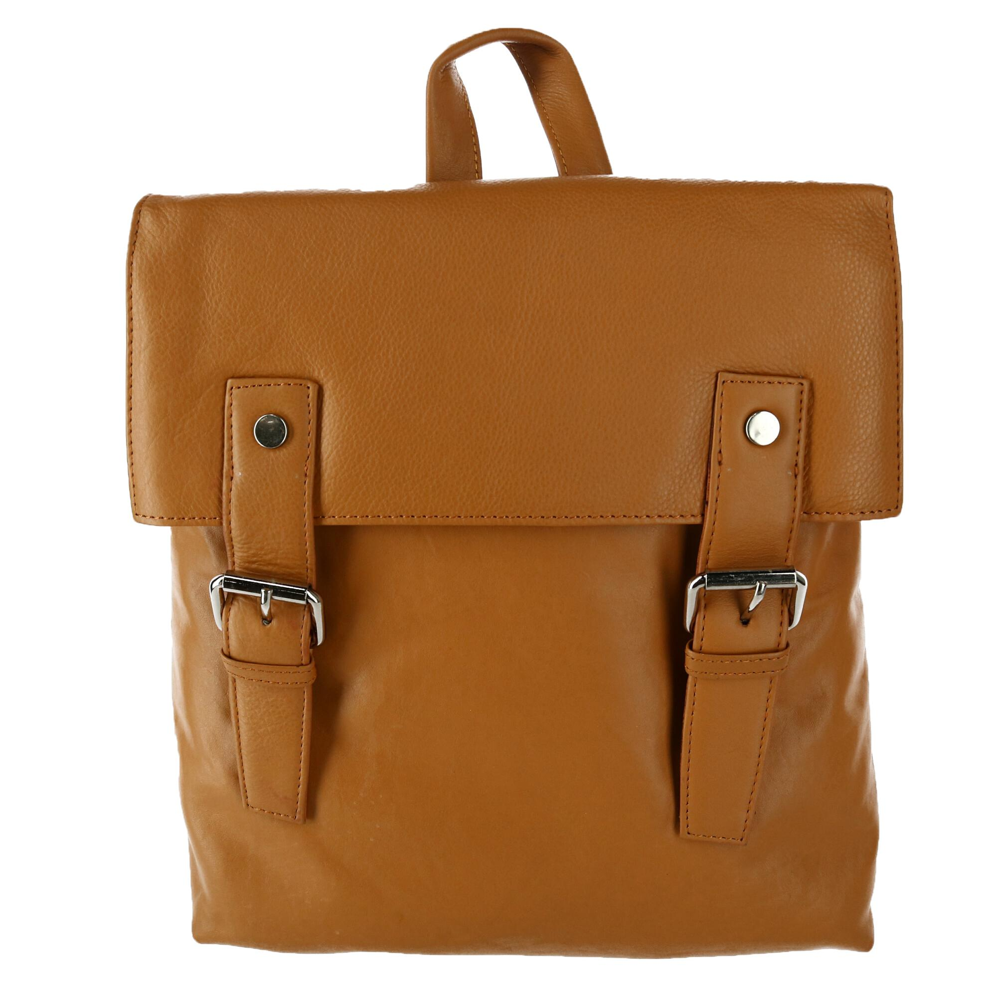 Leather Impressions Women's Magnetic Buckle Backpack Purse - Tan one (LI-10204-TAN LI-10204) photo