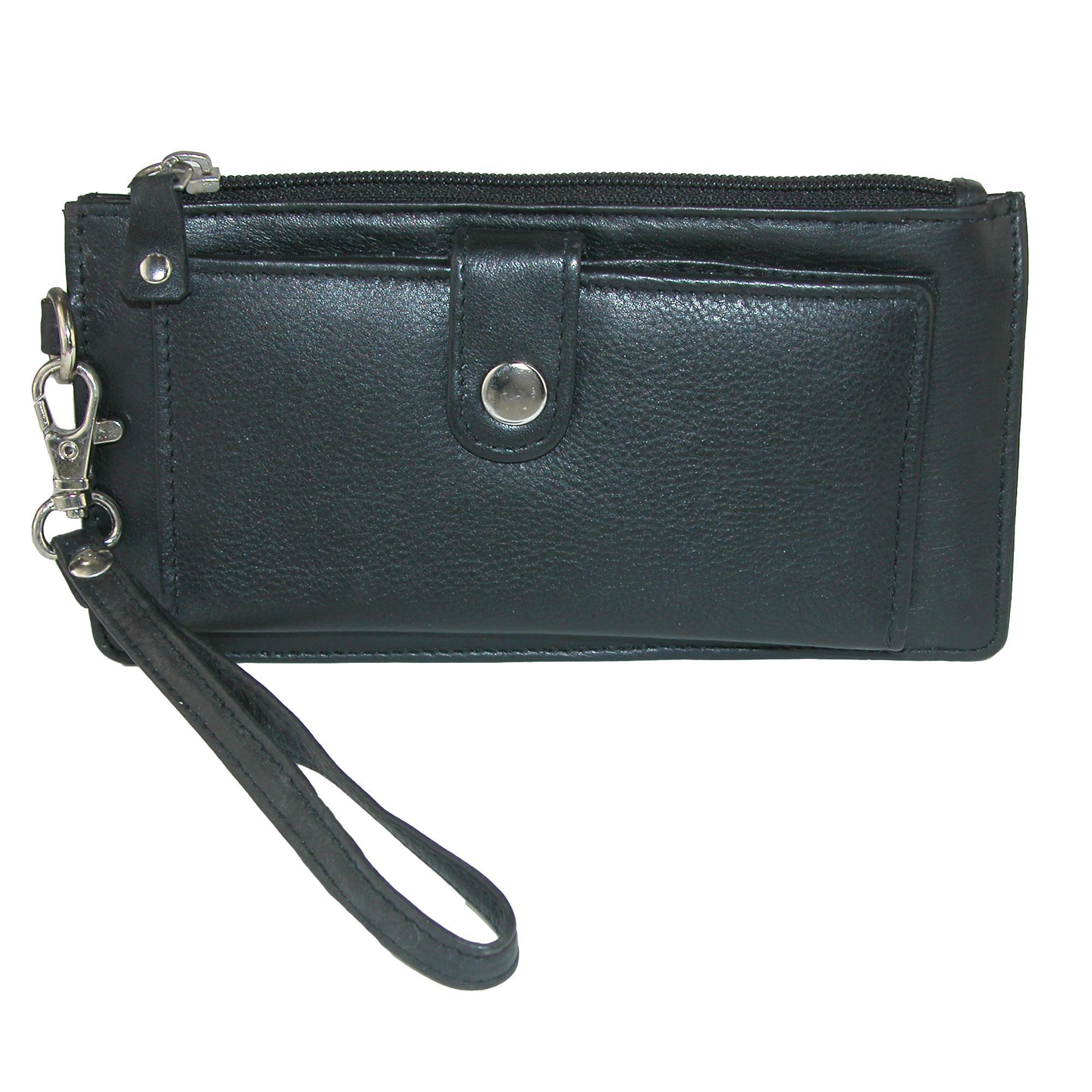 Ctm Women's Leather Top Zip Wallet With Front Organizer