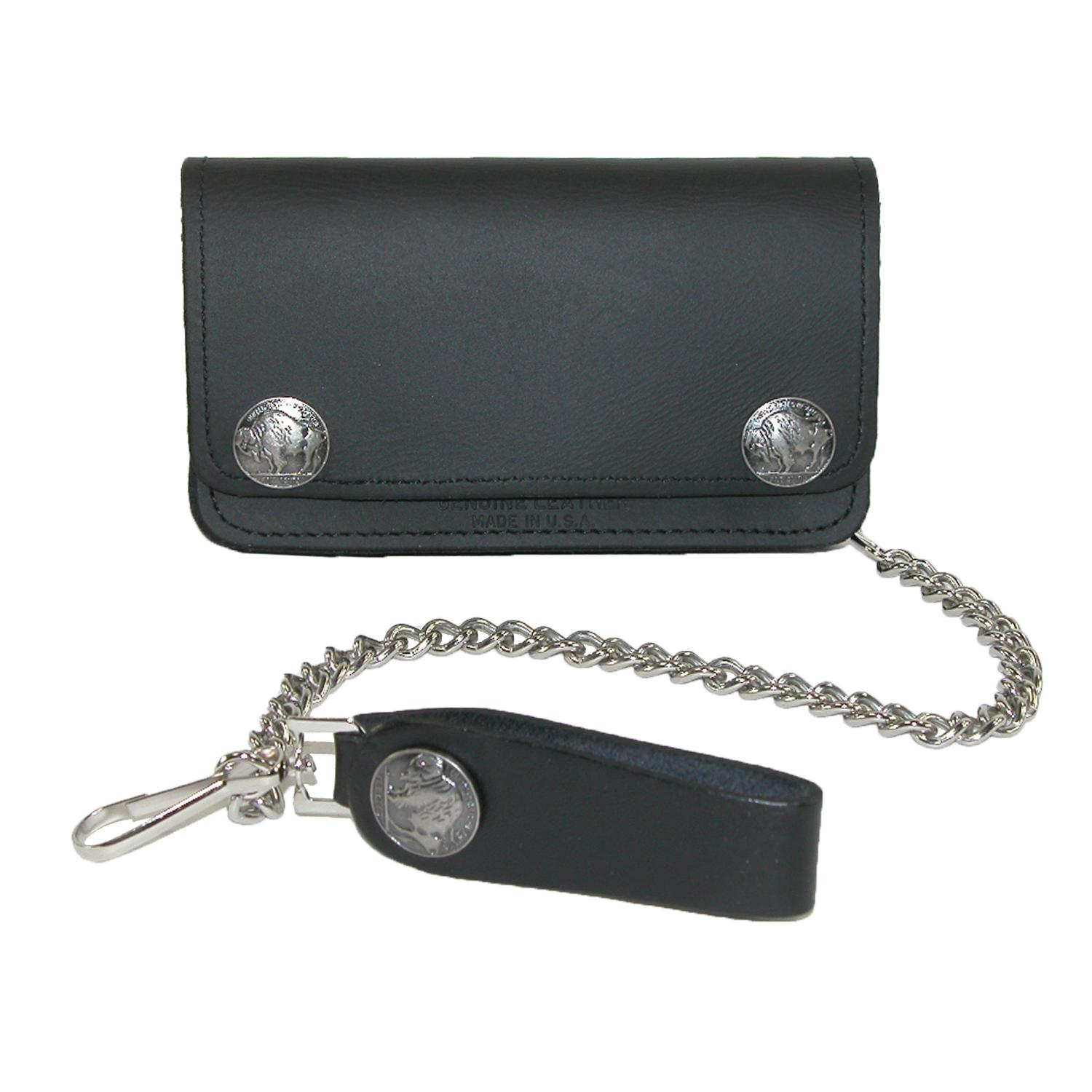 Iris_Tyler_Mens_Leather_and_Nickel_Snaps_Chain_Trucker_Wallet__Black