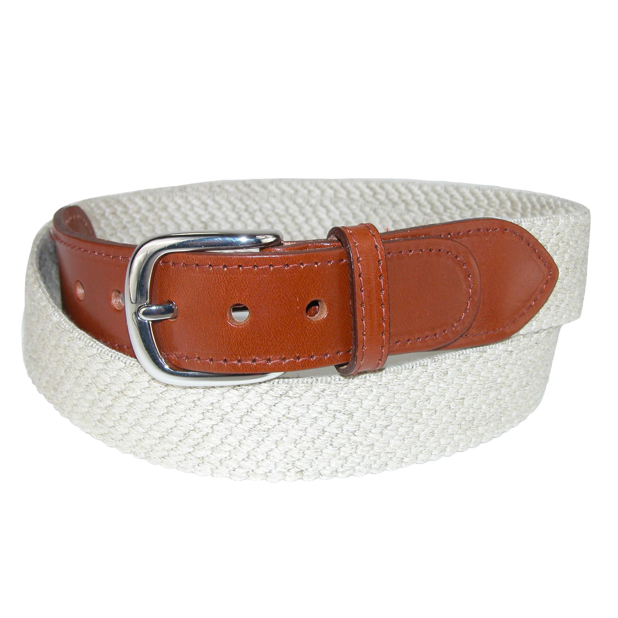 Landes Mens Elastic Web Belt With Leather Tabs