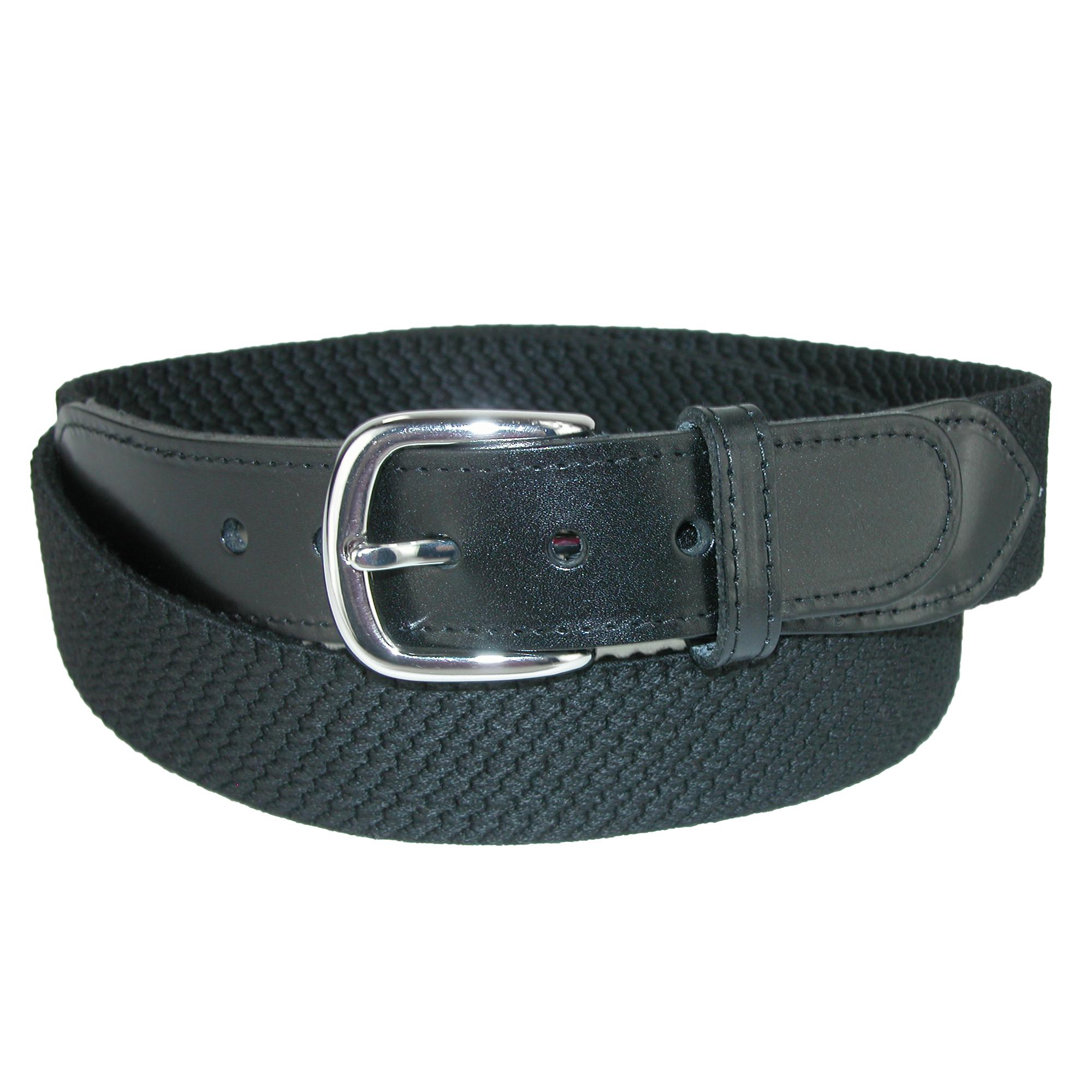 Landes Men's Elastic Web Belt With Leather Tabs