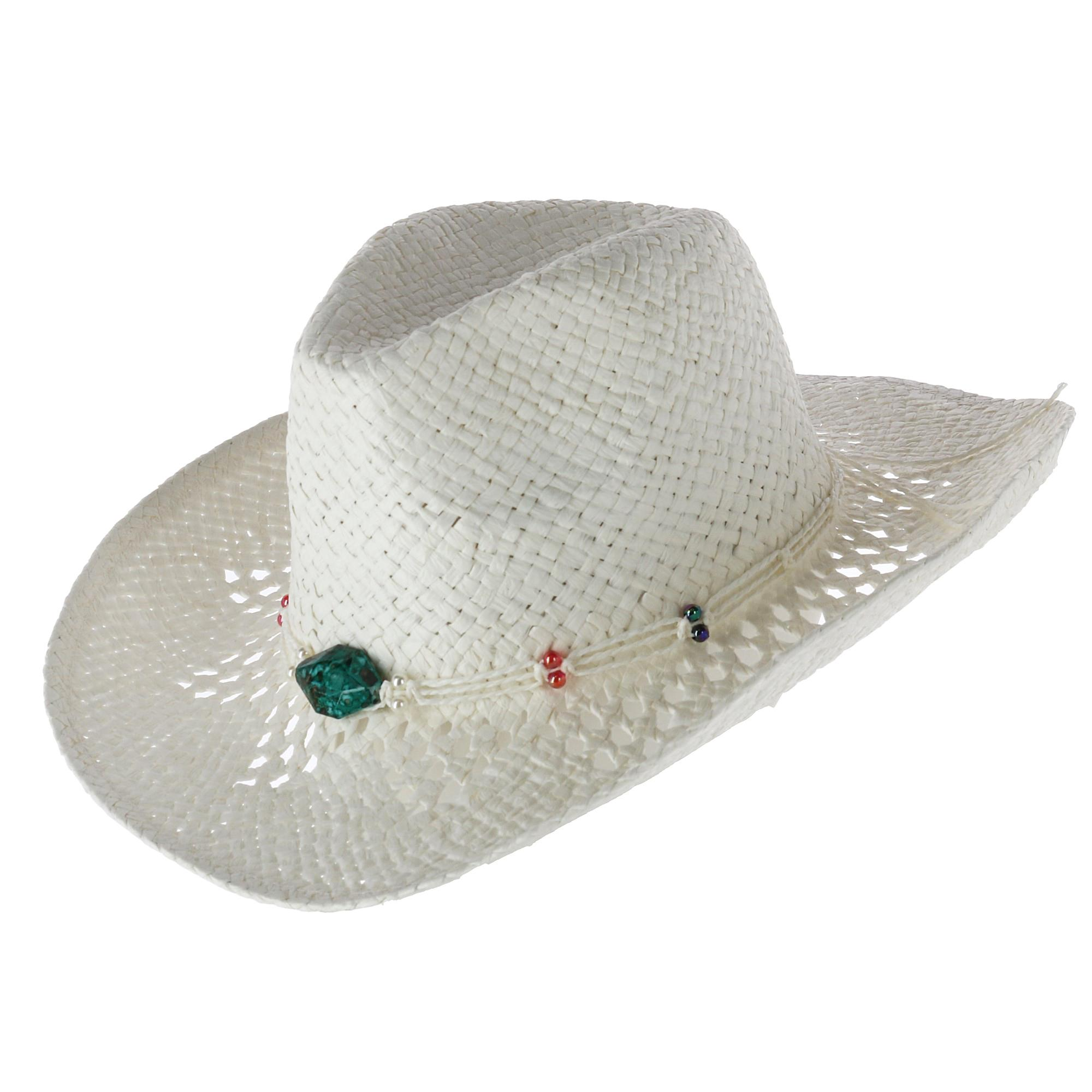 ac069dc9 CTM Women's Open Weave Western Hat with Beaded Band