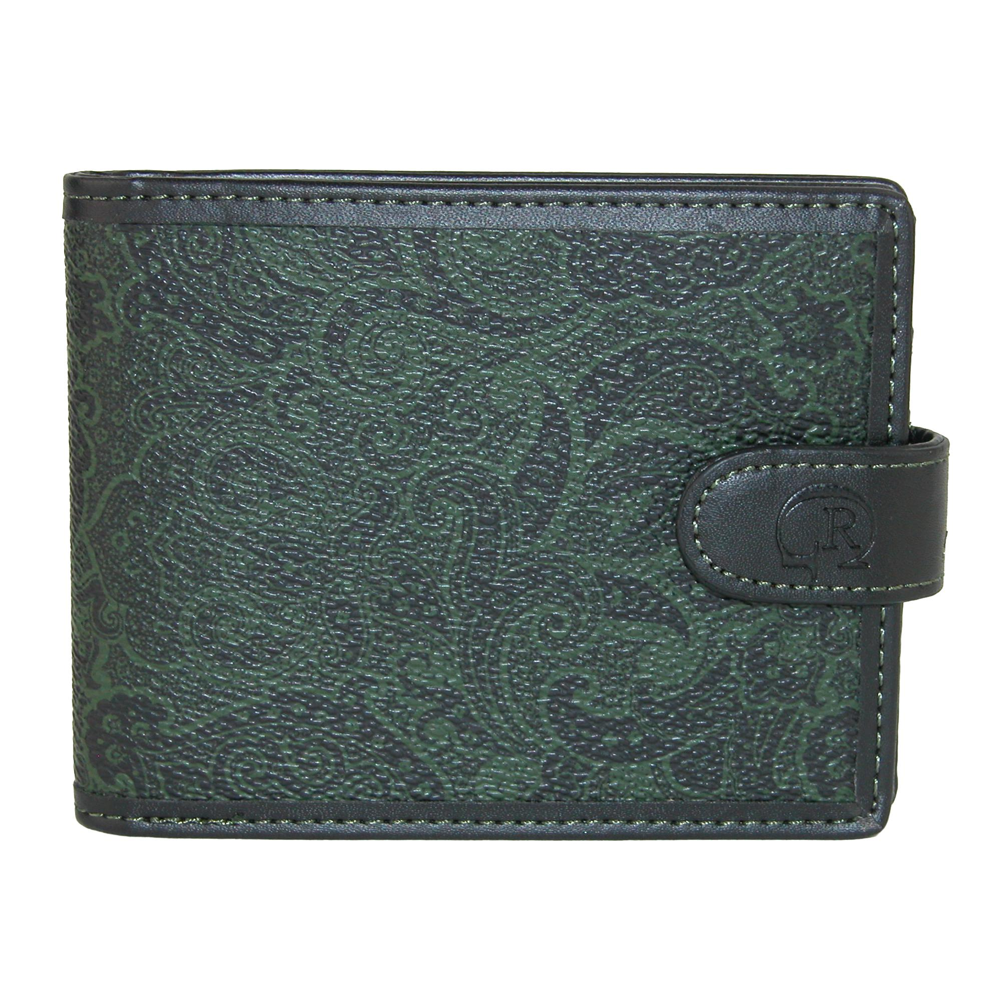 Robert Graham Men's Faux Leather Paisley Bifold Wallet With Snap Closure