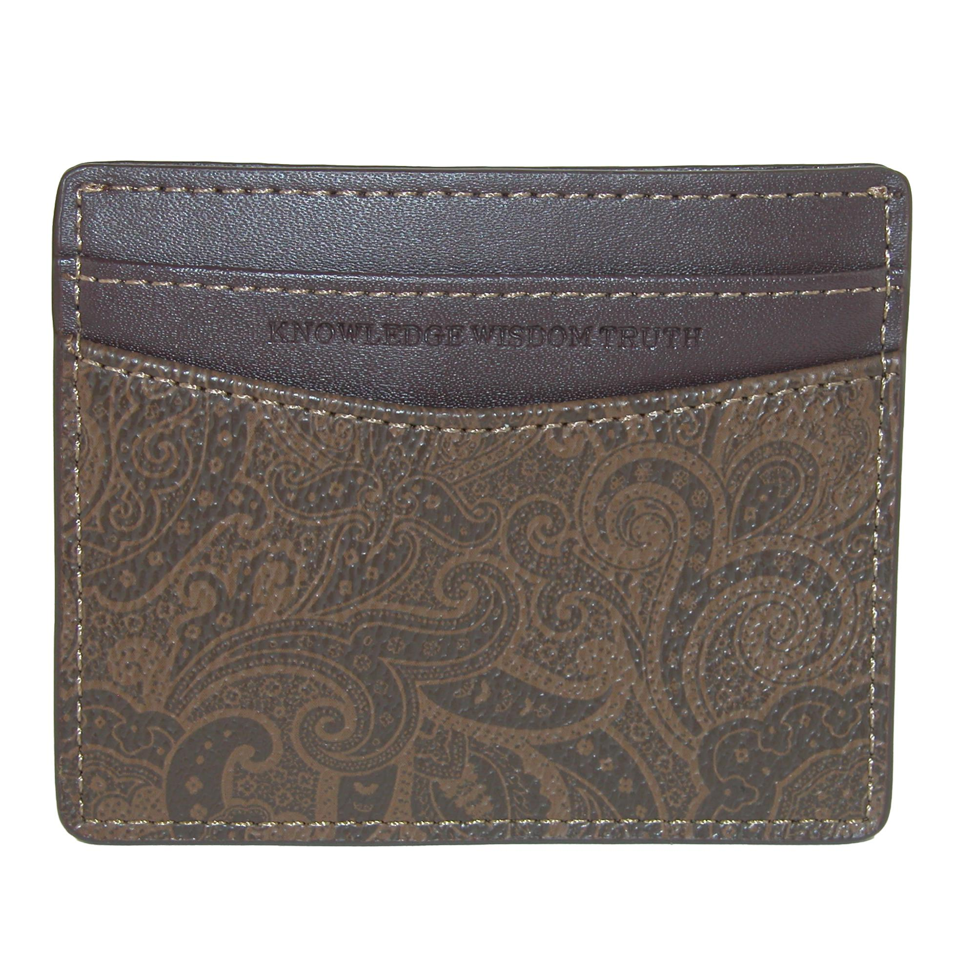 Robert Graham Men's Faux Leather Card Case Wallet With Two Tone Paisley Print