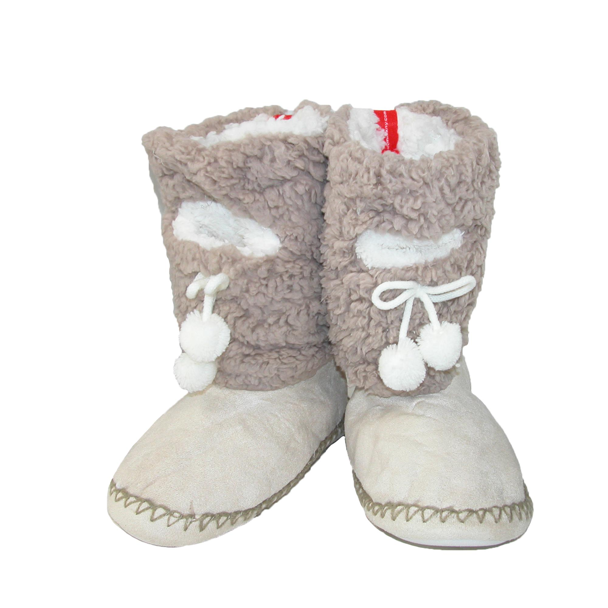 Minx Ny Womens Solid Color Fuzzy Boot Slippers With Phone Pocket