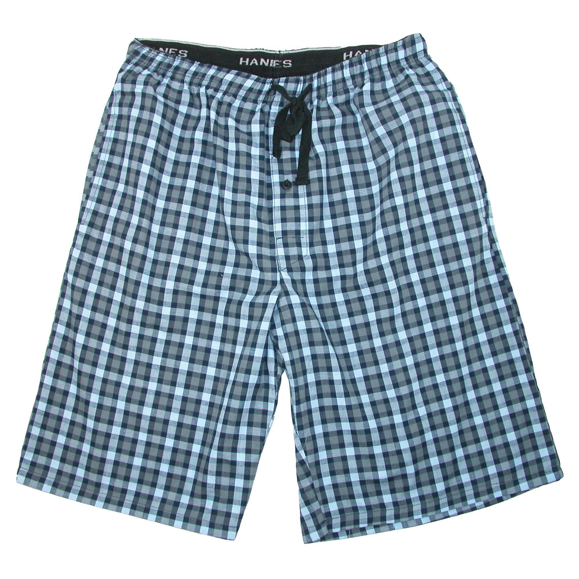 Hanes_Mens_Cotton_Madras_Drawstring_Sleep_Pajama_Shorts_