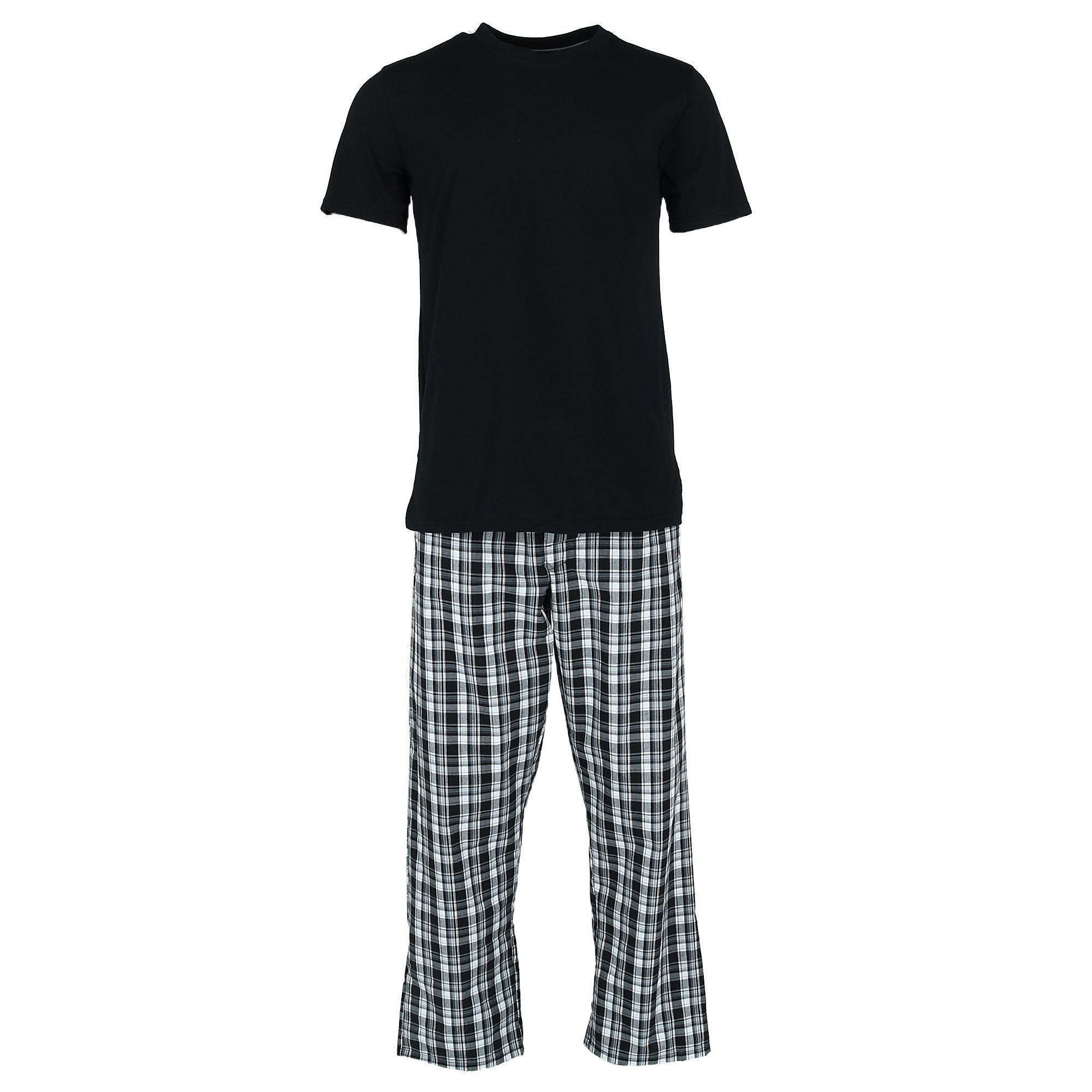 Hanes Mens Tee And Woven Sleep Pant Pajama Set