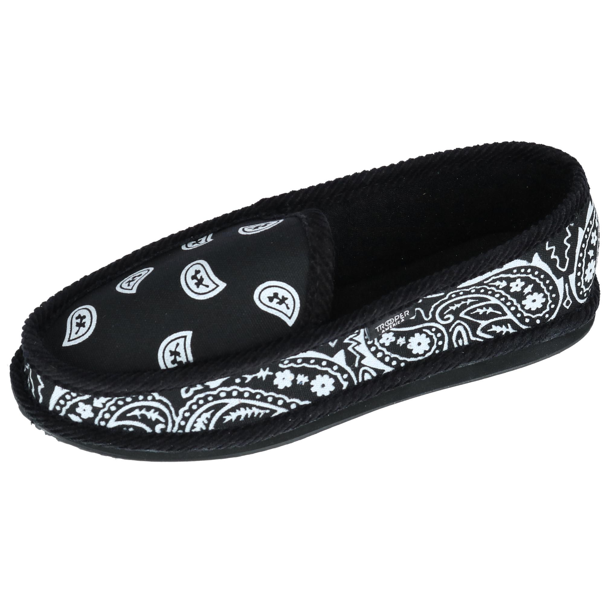Trooper America Mens Bandana Print Slip On Slipper Shoe