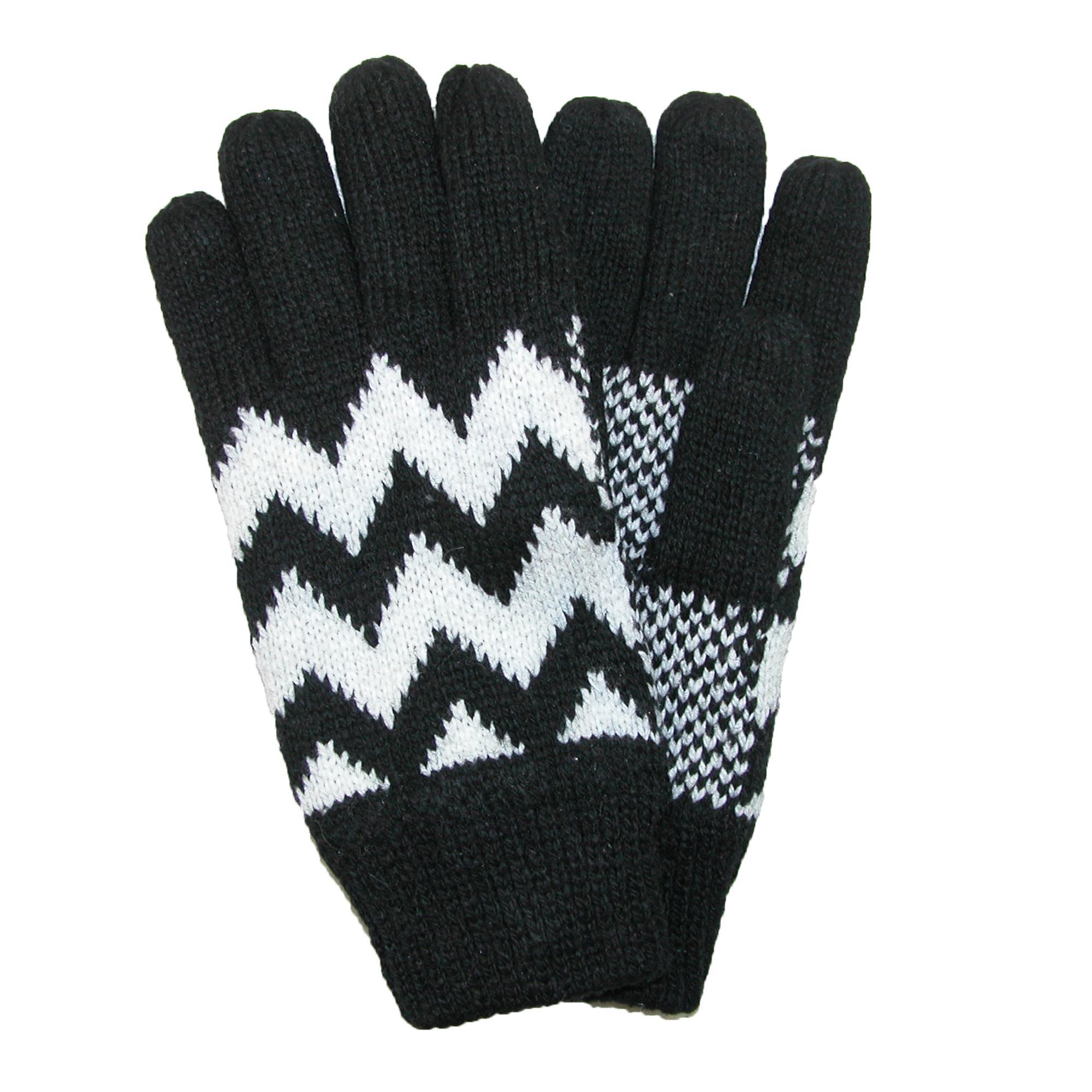 CTM Men's Fleece Lined Knit Gloves with Zig Zag