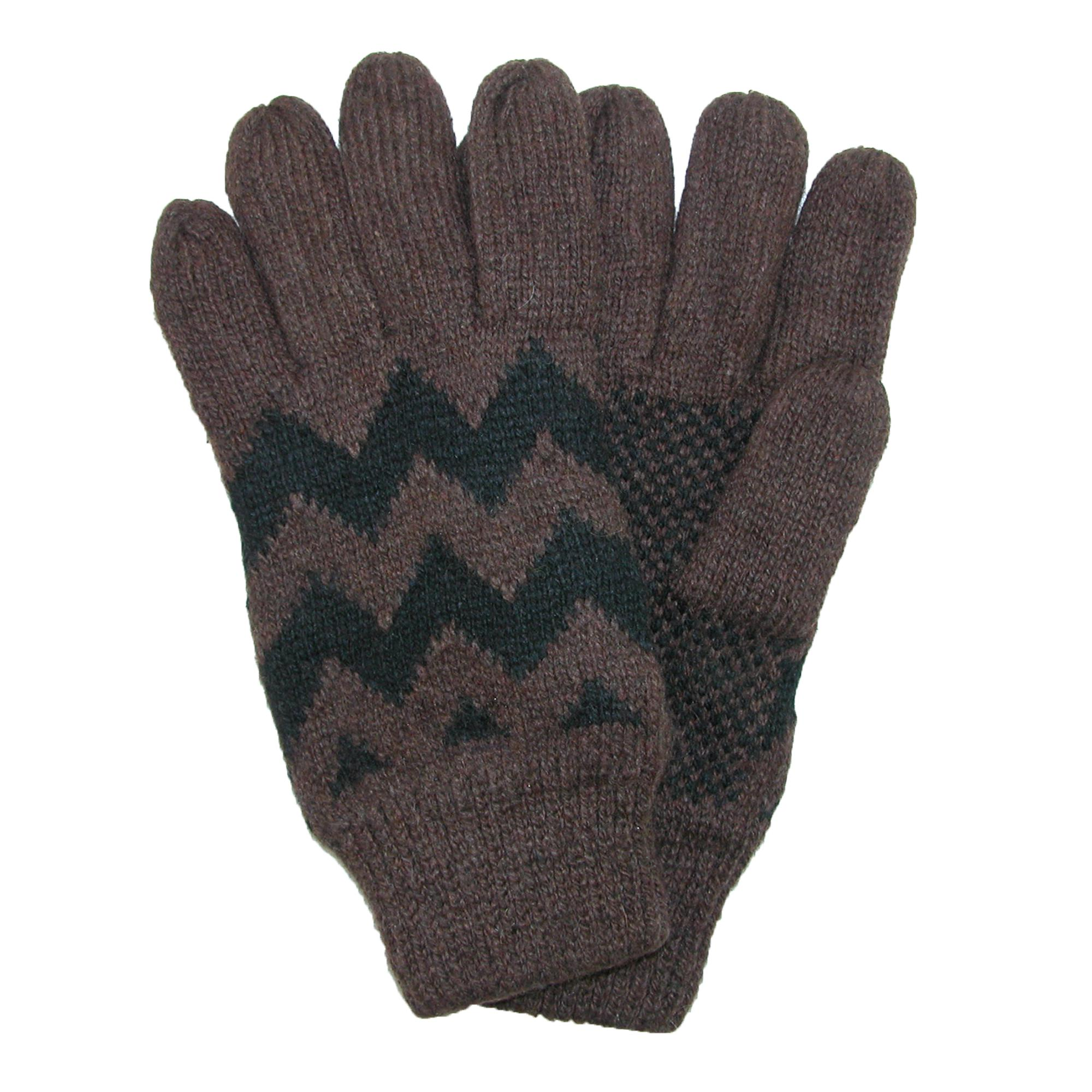 Ctm Mens Fleece Lined Knit Gloves With Zig Zag