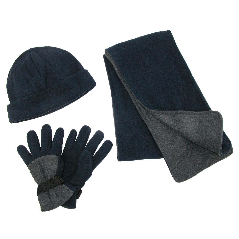 Ctm Mens Fleece Hat Gloves And Scarf Winter Set