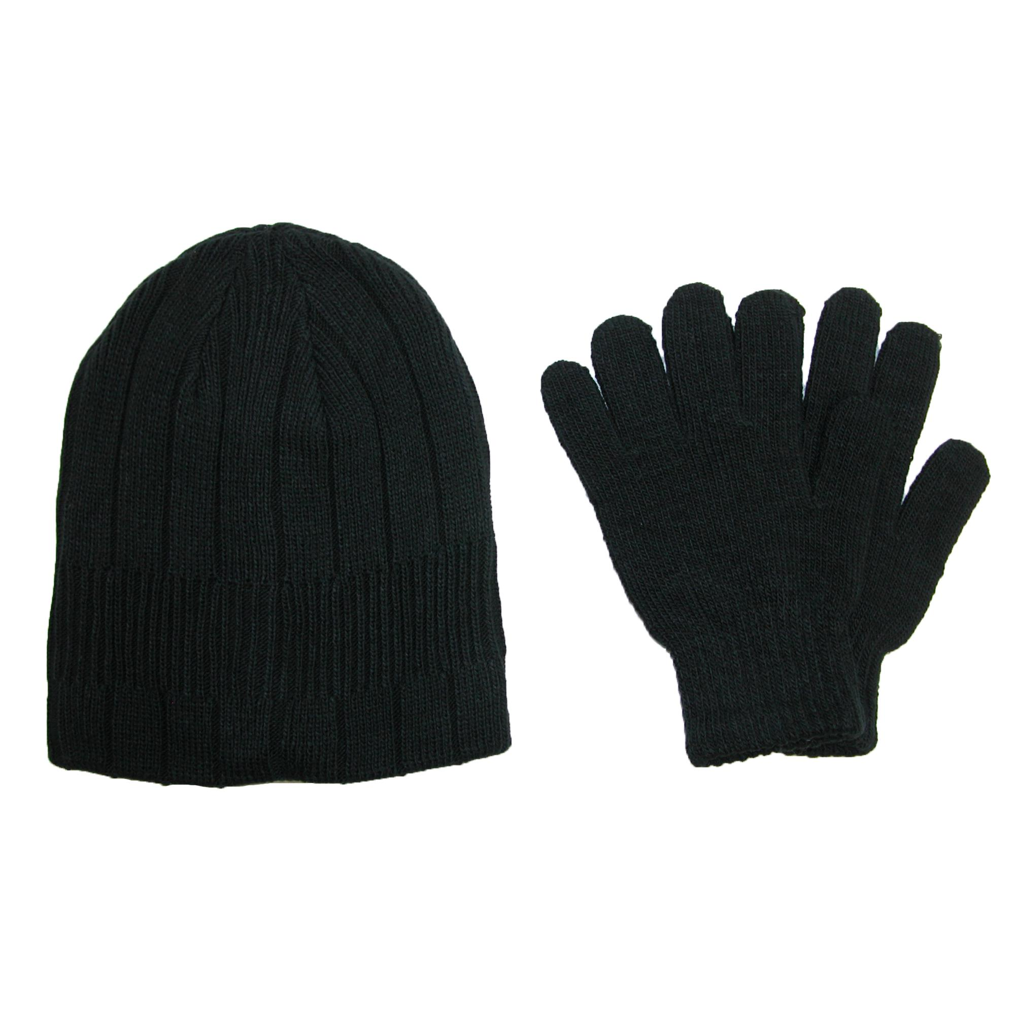 Ctm Mens Knit Solid Hat And Glove Set