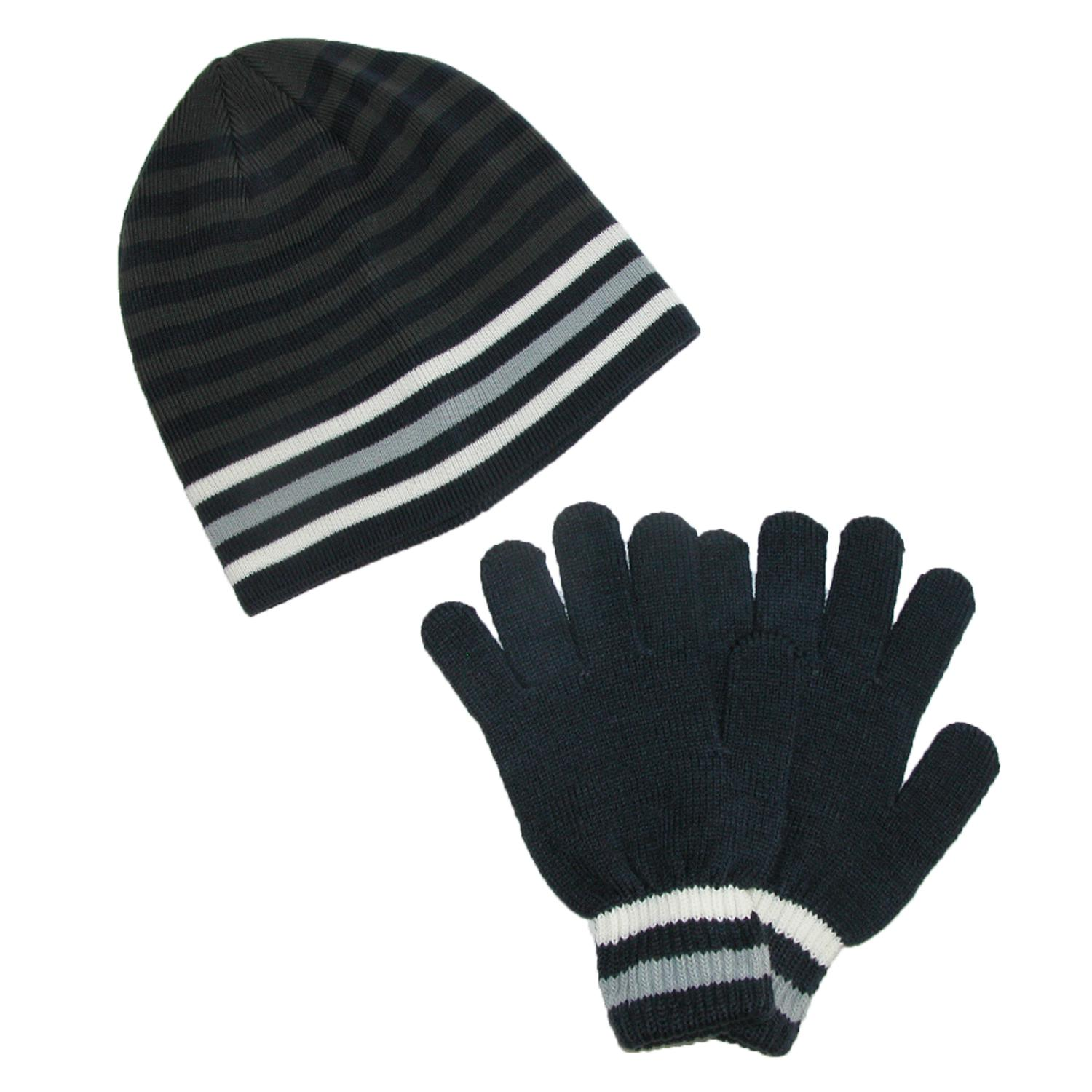 Ctm Mens Knit Striped Hat And Gloves Winter Set