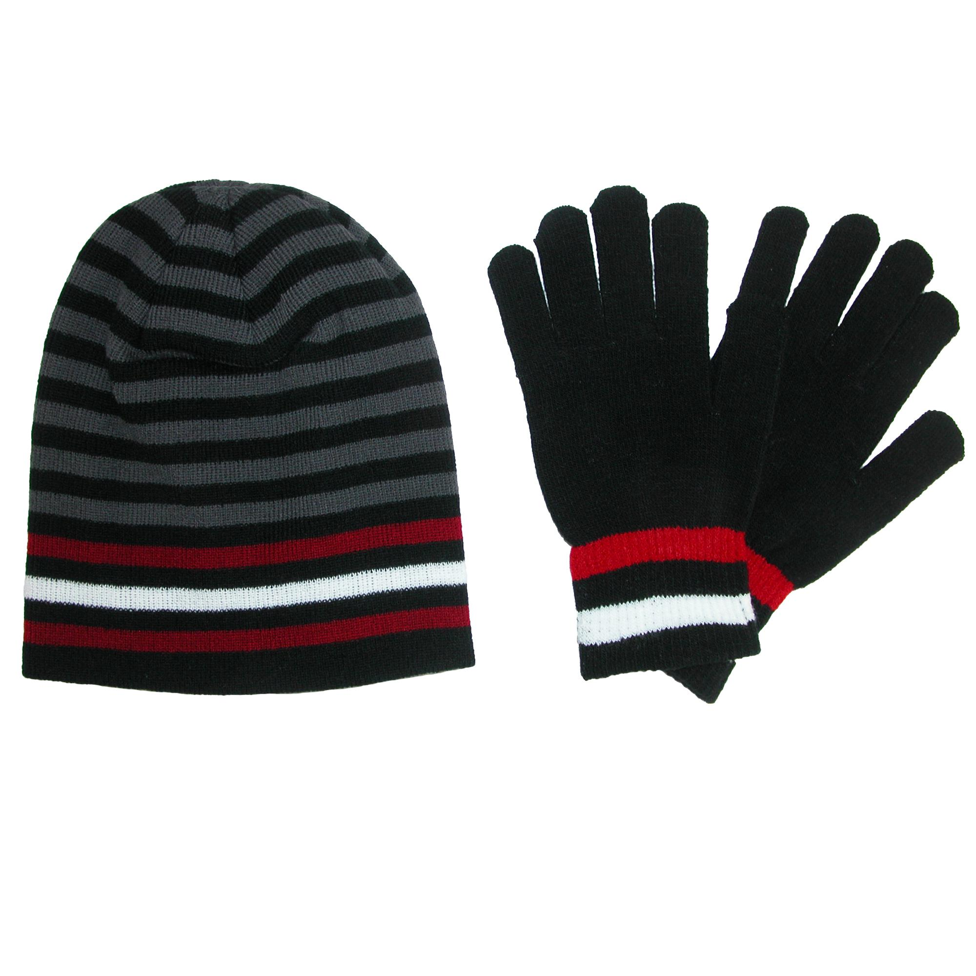 CTM Men's Knit Striped Hat and Gloves Winter Set