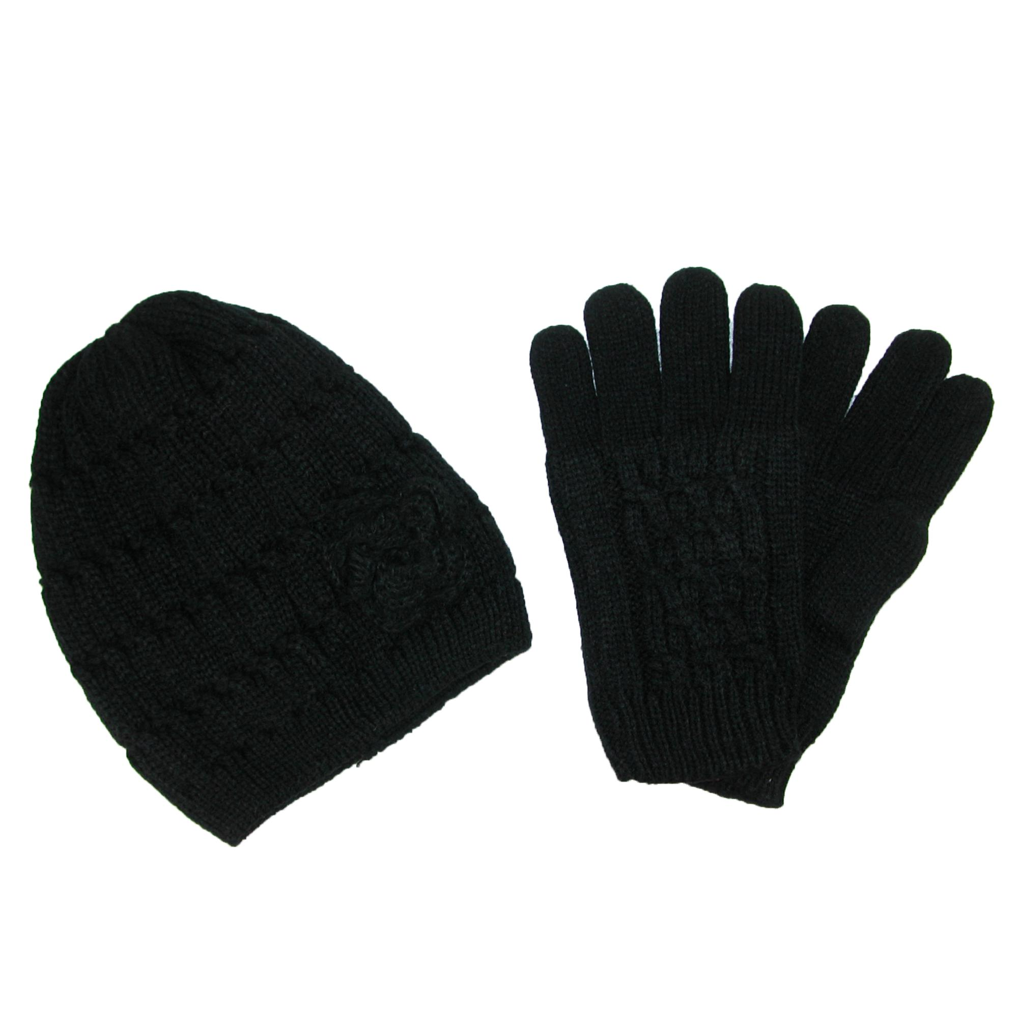 Ctm Womens Knit Hat With Rosette And Glove Set