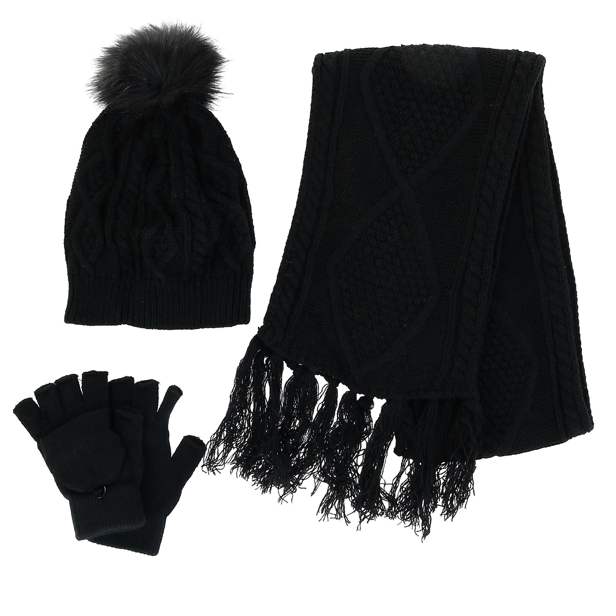 ea4275c4093 Details about New CTM Women's Cable Knit 3 Piece Winter Set