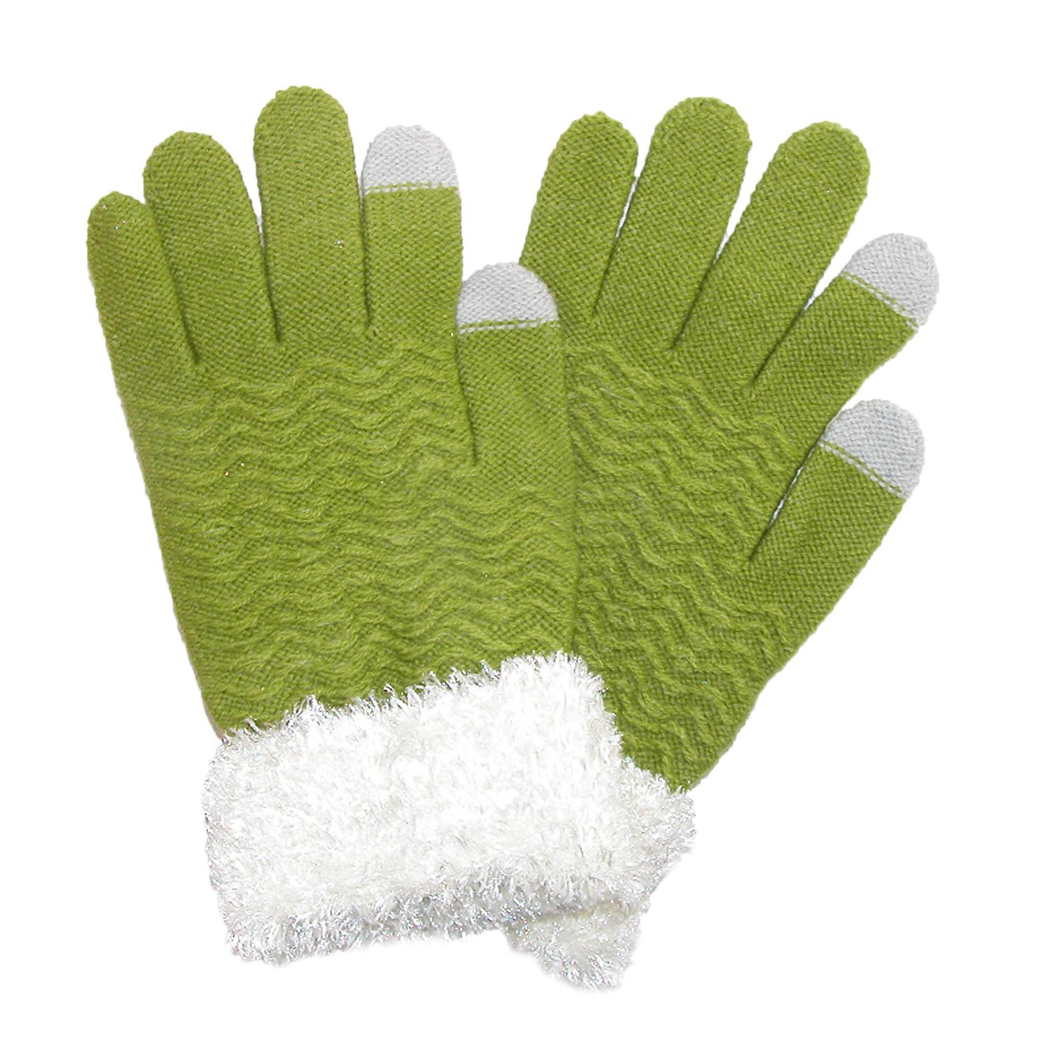Ctm Womens Chenille With Eyelash Cuff Touch Screen Glove