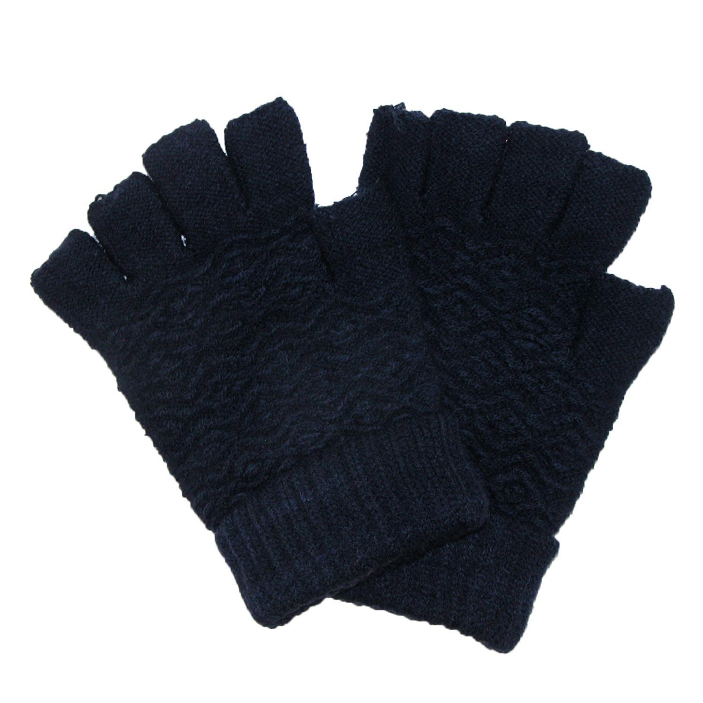 Ctm Womens Chenille Fingerless Winter Gloves