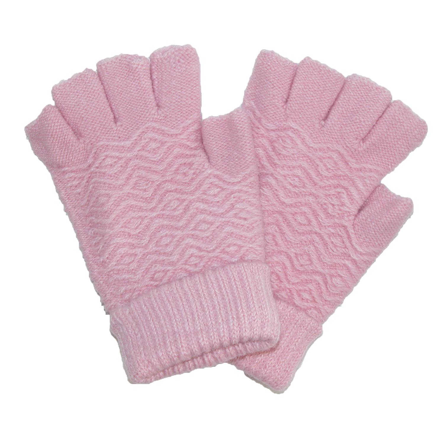 Ctm Womens Chenille Fingerless Winter Gloves