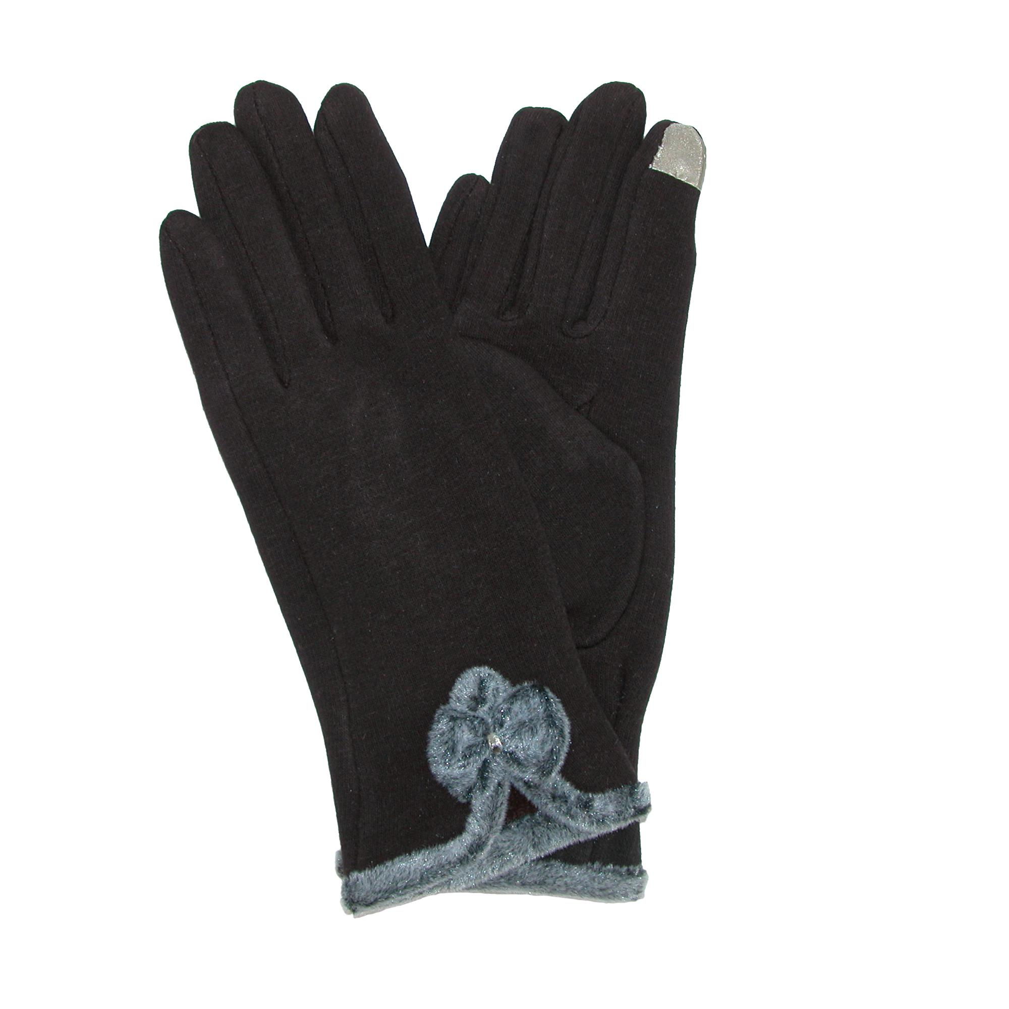 Ctm Womens Velvet Touch Glove With Bow