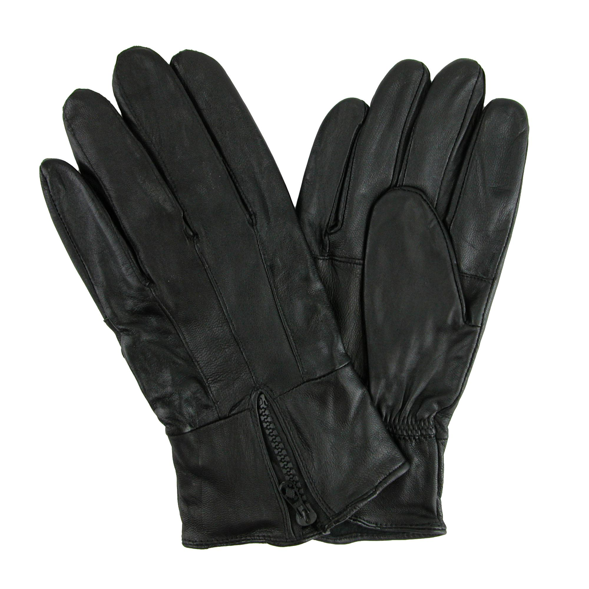 Ctm Mens Leather Fleece Lined Glove With Zipper