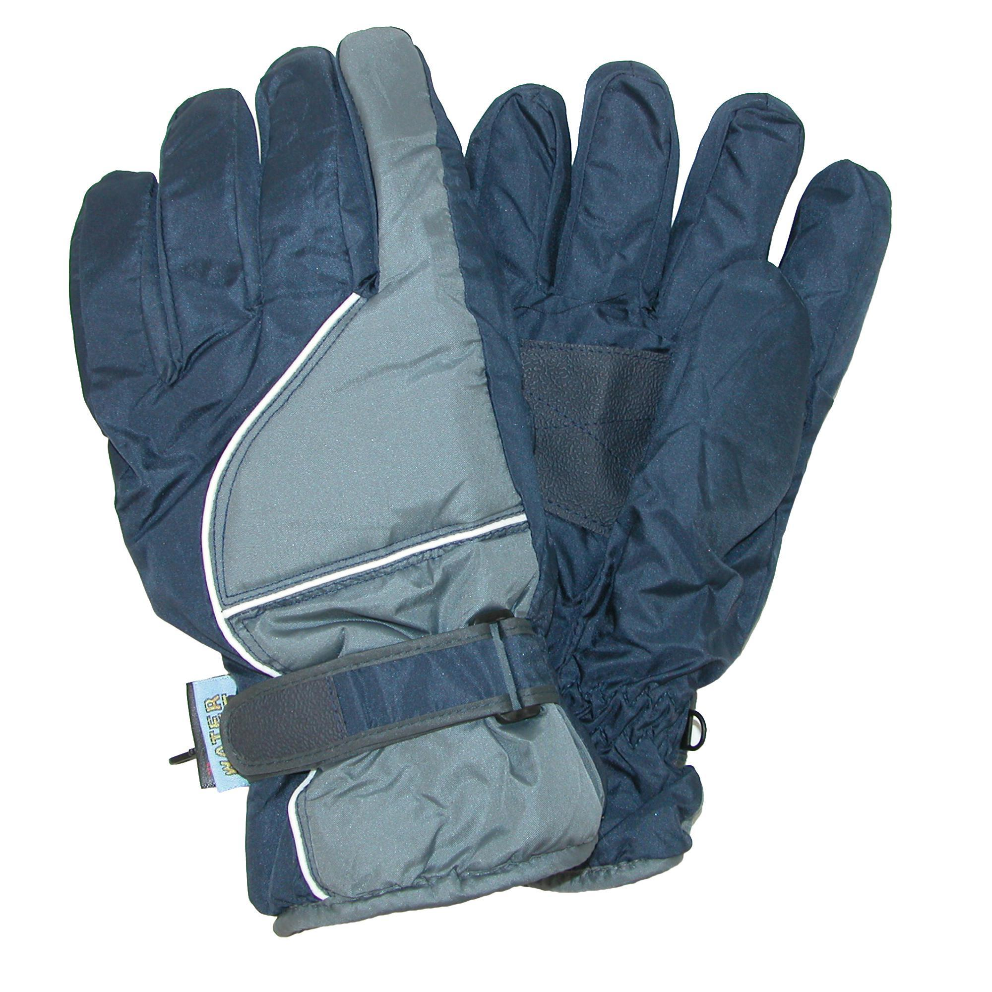 Ctm Mens Waterproof Ski Gloves With Contrast Piping