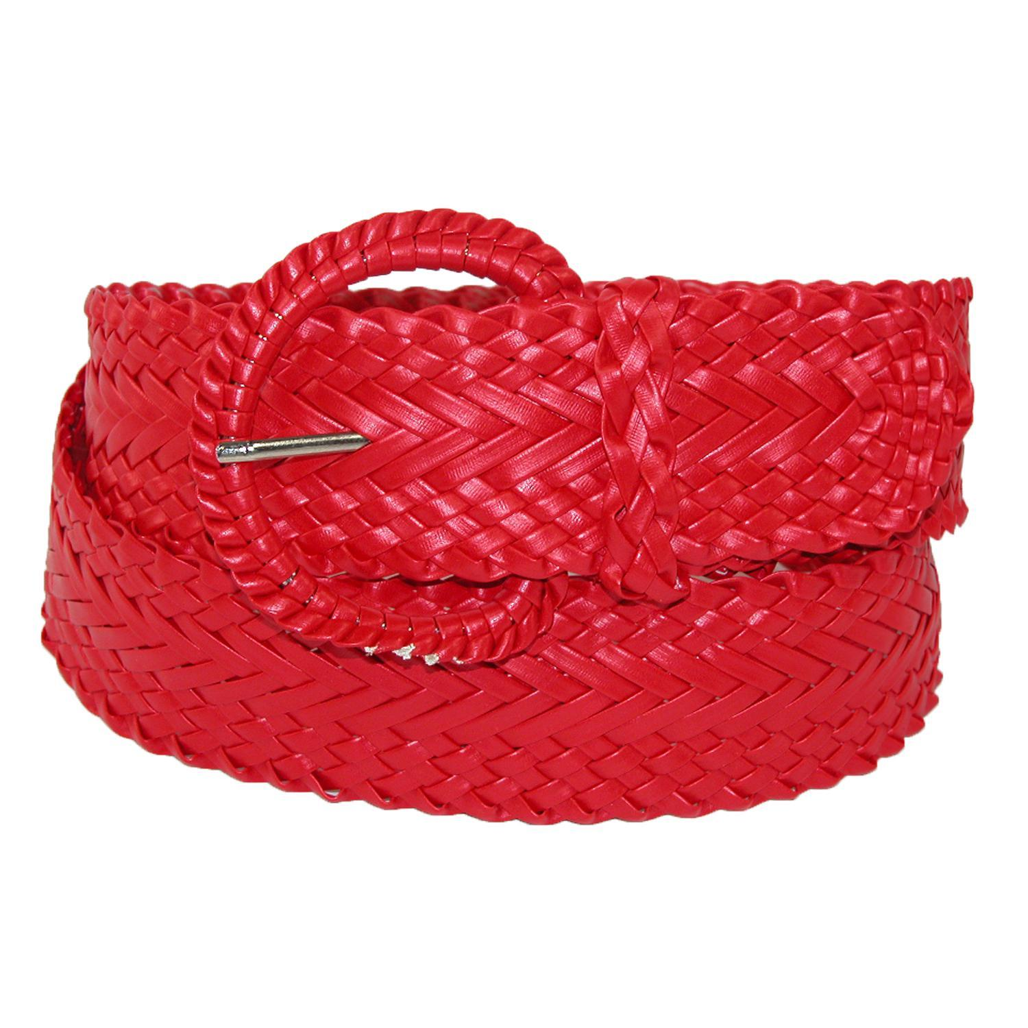 CTM_Women's_2_Inch_Wide_Adjustable_Braided_Belt_-_Red_Small