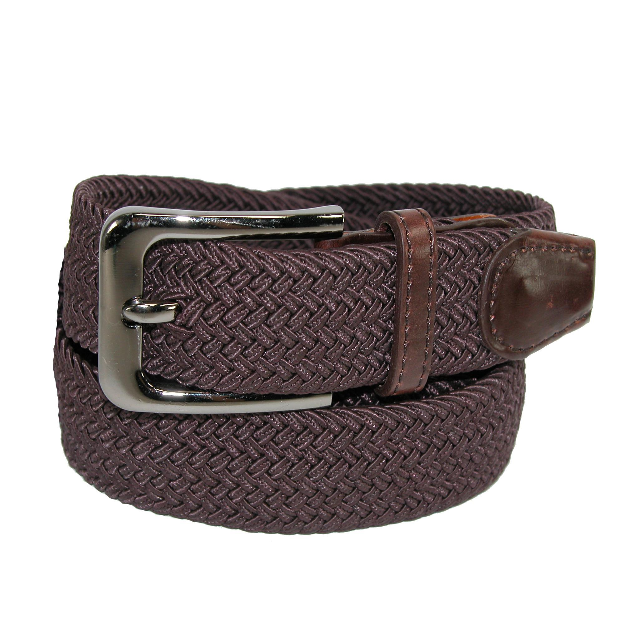 CTM_Mens_Elastic_Braided_Stretch_Belt_with_Silver_Buckle_
