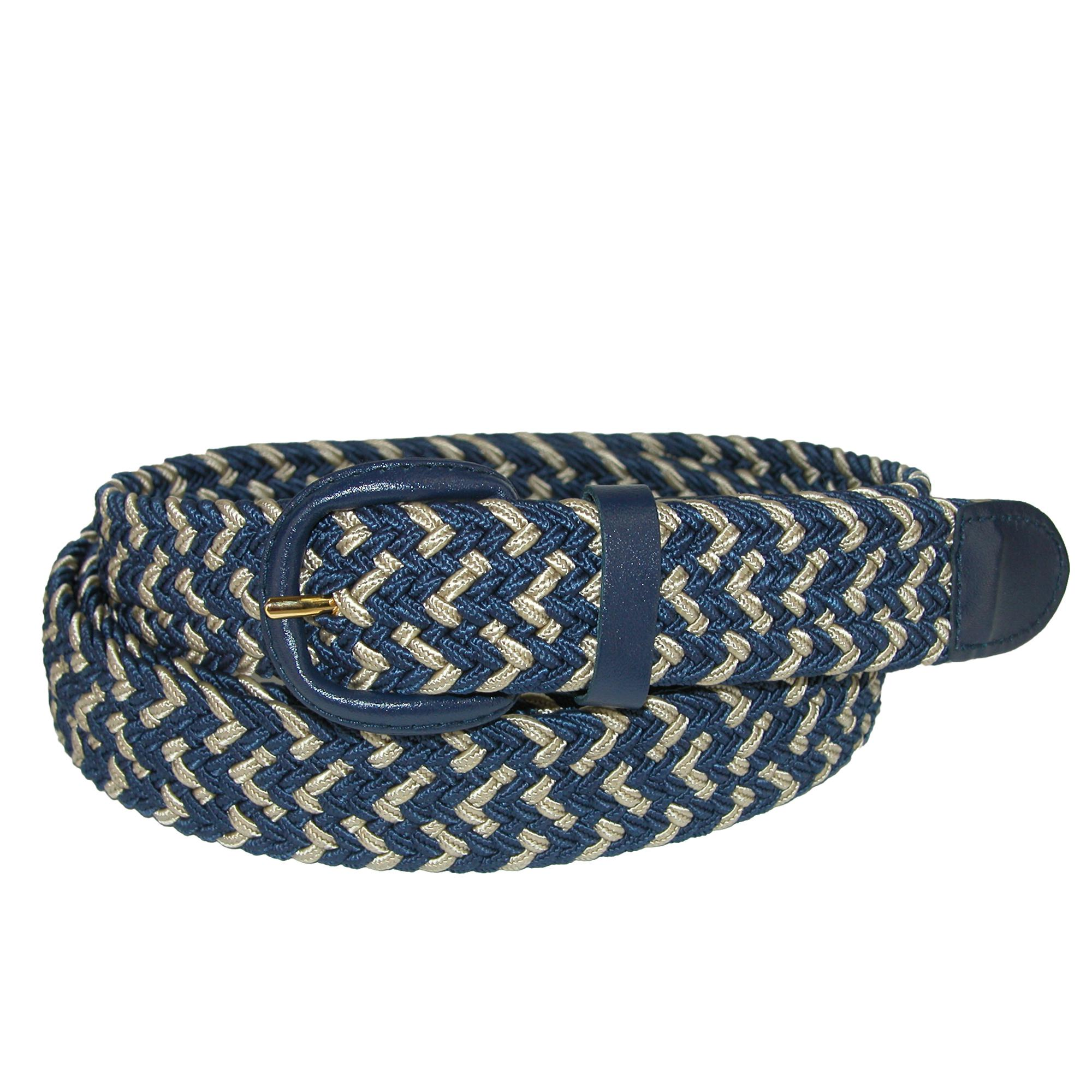 CTM_Men's_Elastic_Stretch_Two_Tone_Belt_with_Matching_Buckle_-_Navy