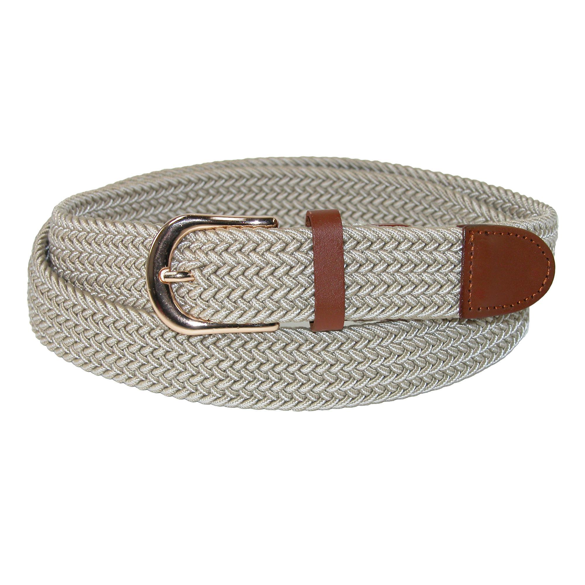 Ctm Mens Elastic Stretch Two Tone Belt With Gold Buckle
