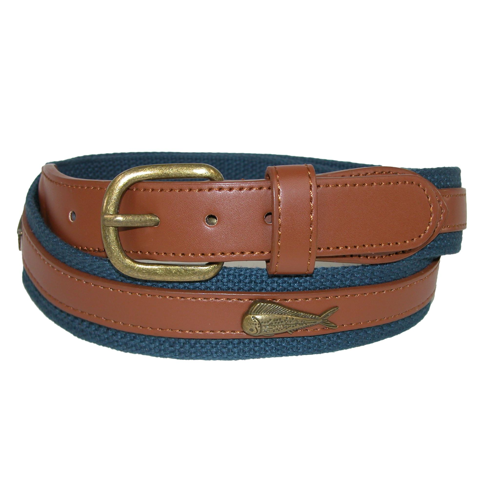 Ctm Mens Fabric Belt With Ribbon Overlay And Fish Conchos