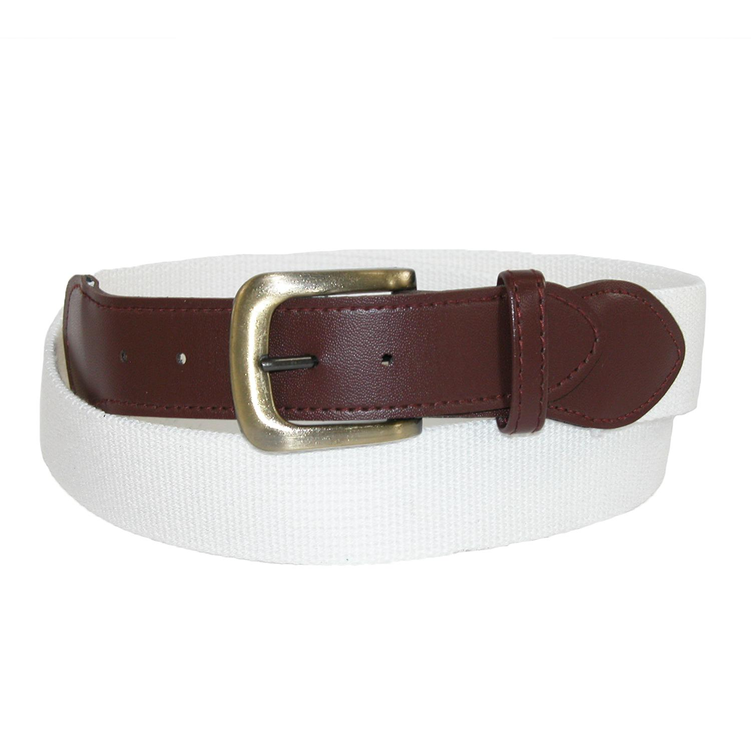 Ctm Mens Fabric With Leather Tabs Casual Golf Belt