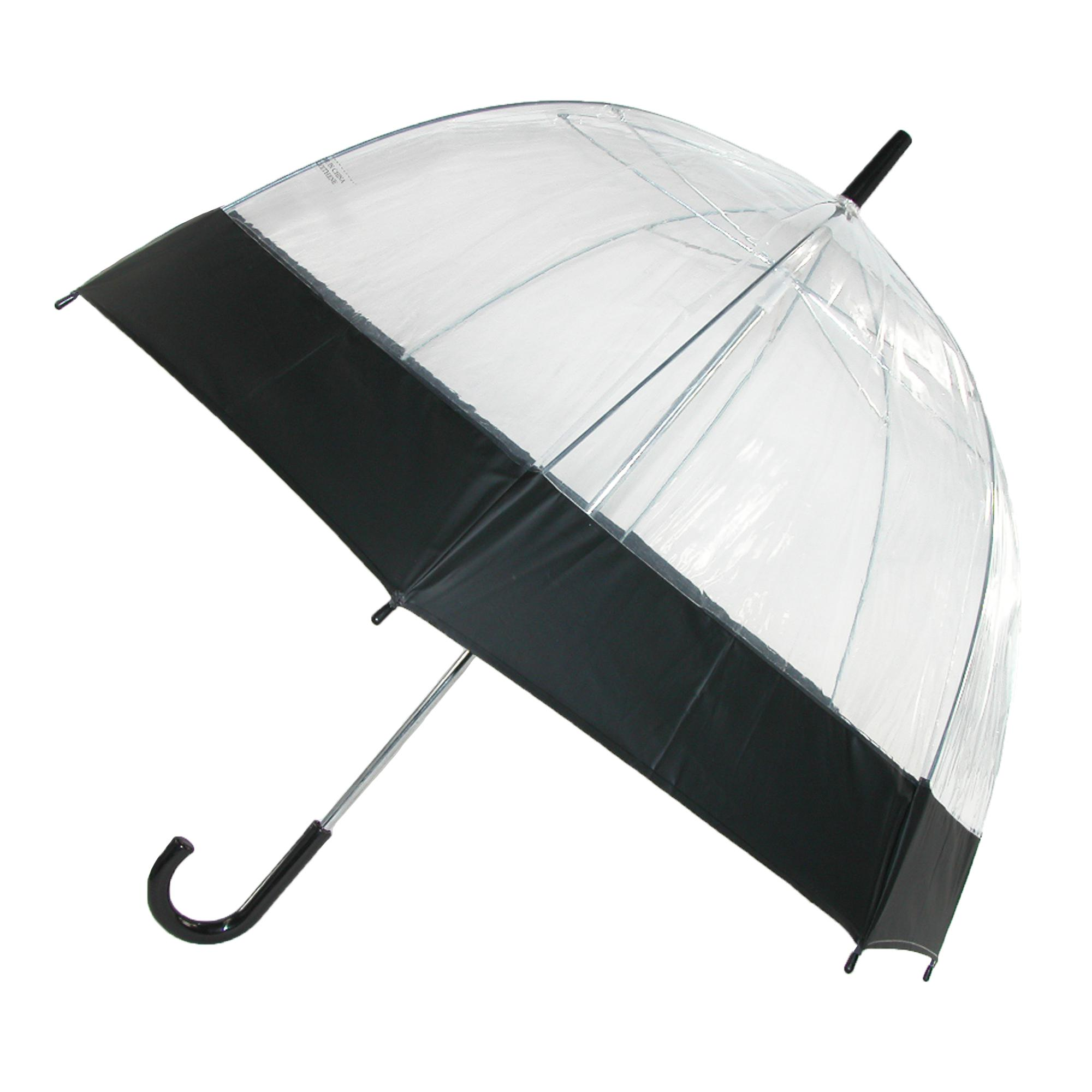 iRain_Clear_Bubble_Dome_with_Colored_Trim_Hook_Handle_Umbrella___one