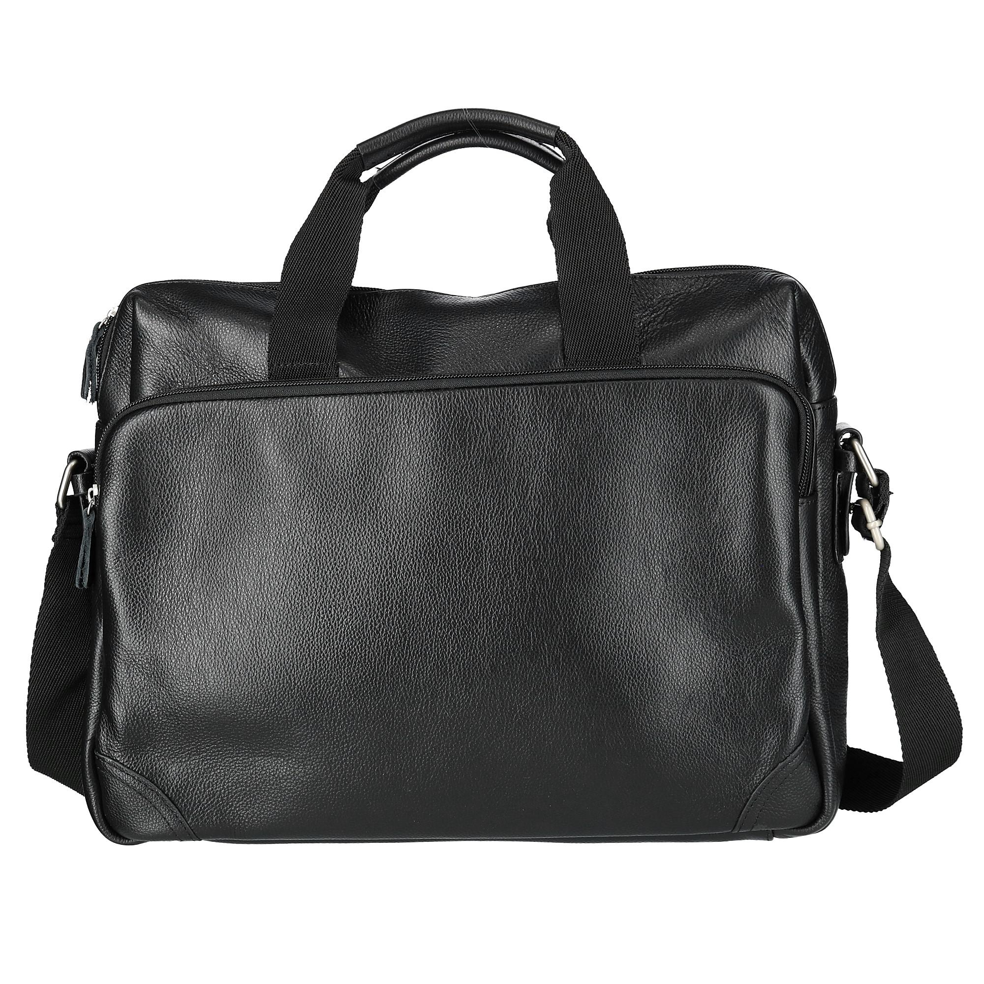 CTM Men's Leather Slim Briefcase with Laptop