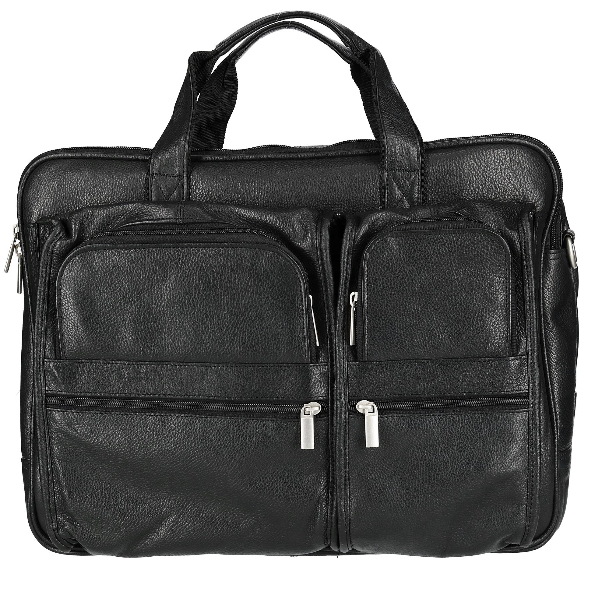 CTM Men's Tumble Leather Double Gusset Briefcase