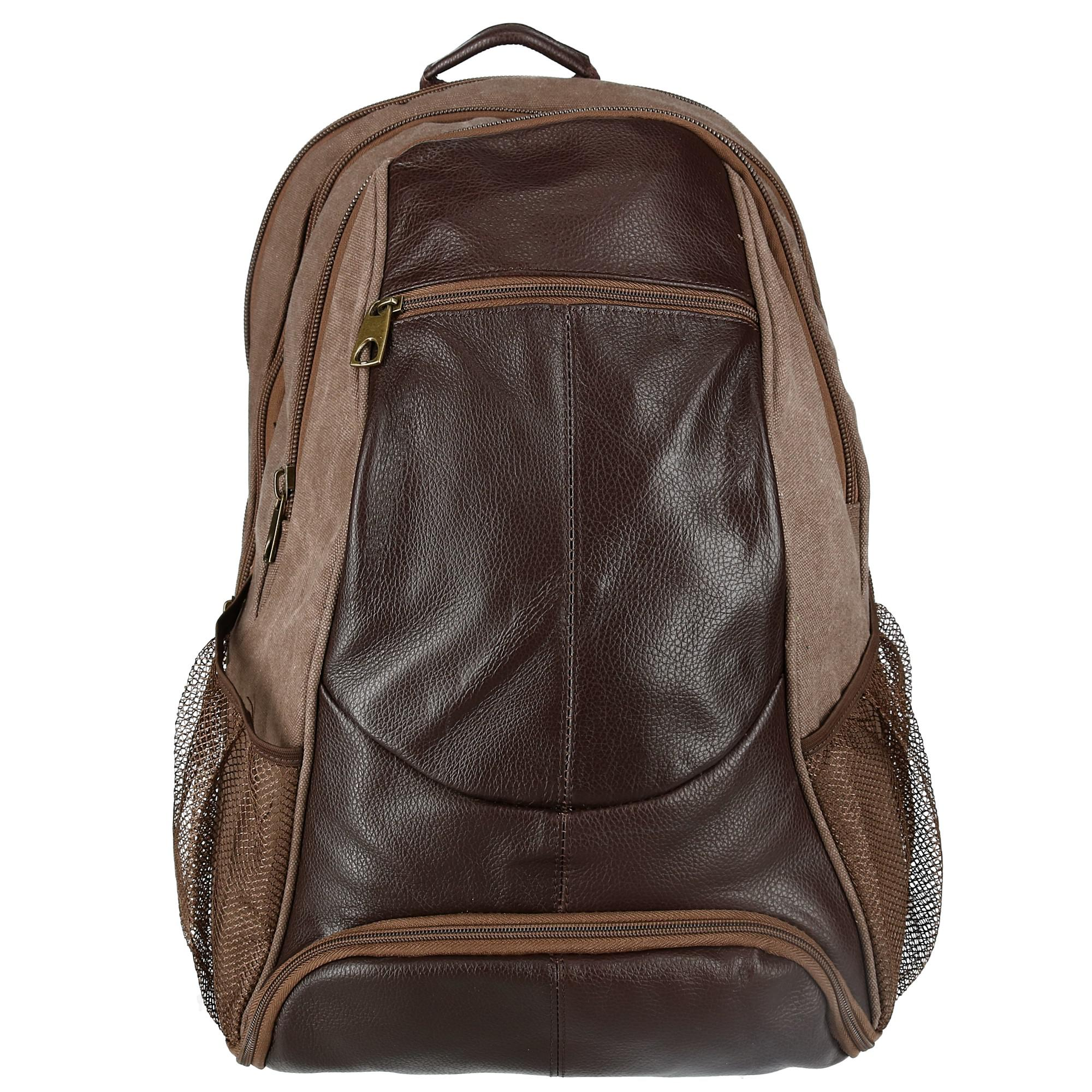 New CTM Men s Leather and Canvas Backpack with Laptop and Shoe ... 41149f5900