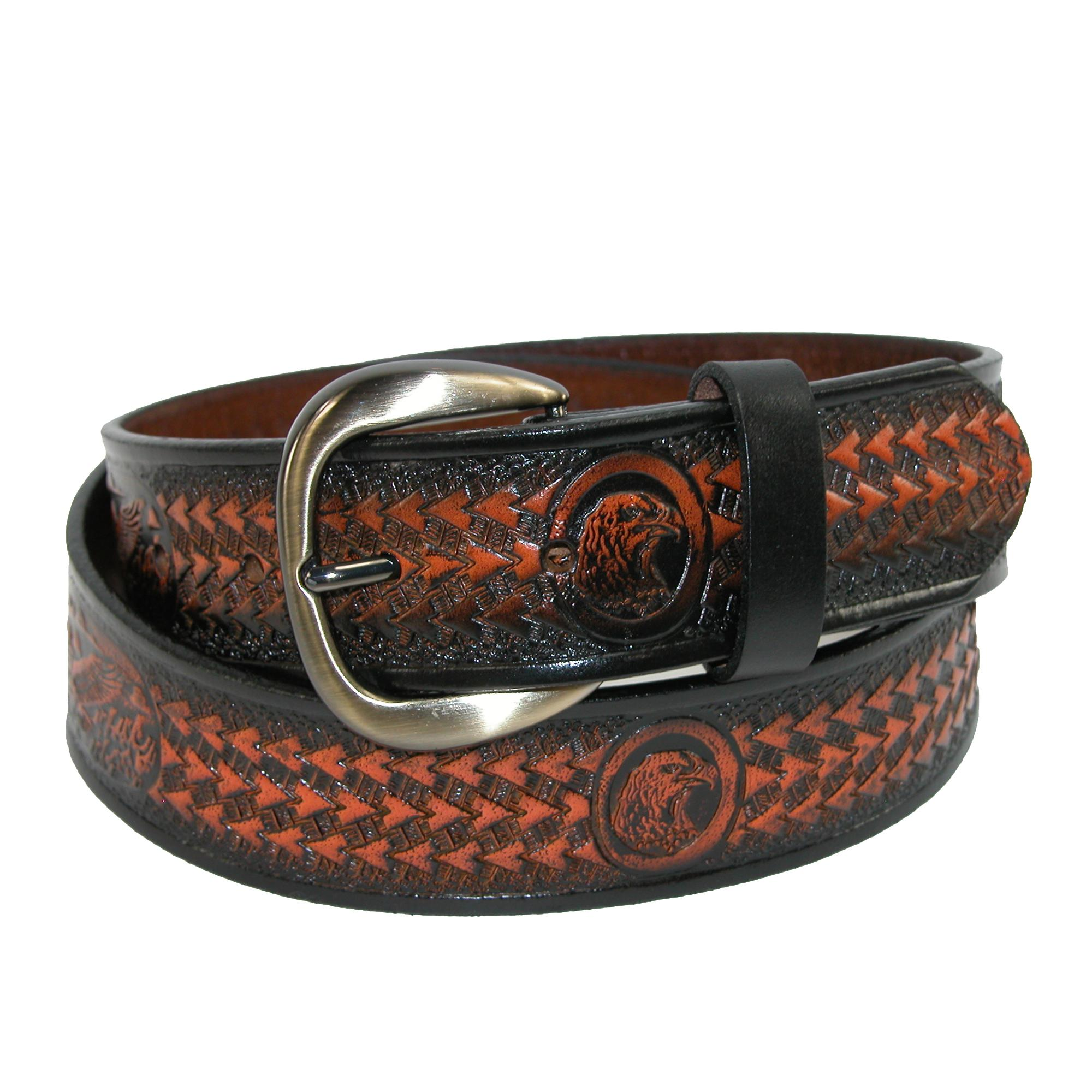 Hickory Creek Mens Leather Jean Belt With Embossed Eagle