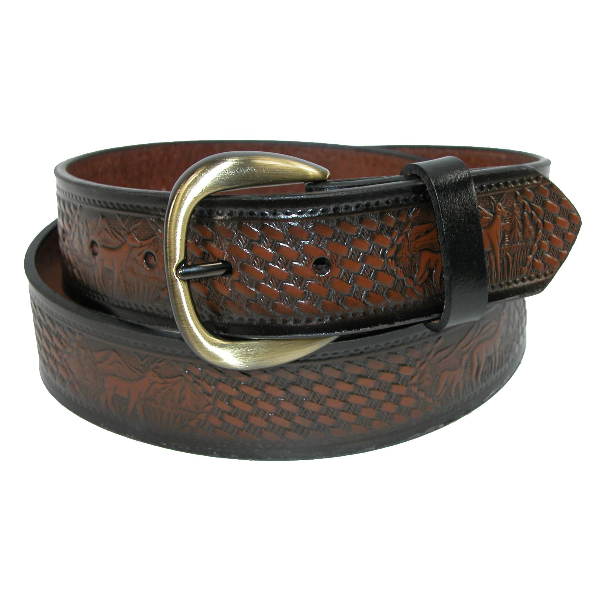 Hickory Creek Mens Big & Tall Leather Deer Embossed Basketweave Belt