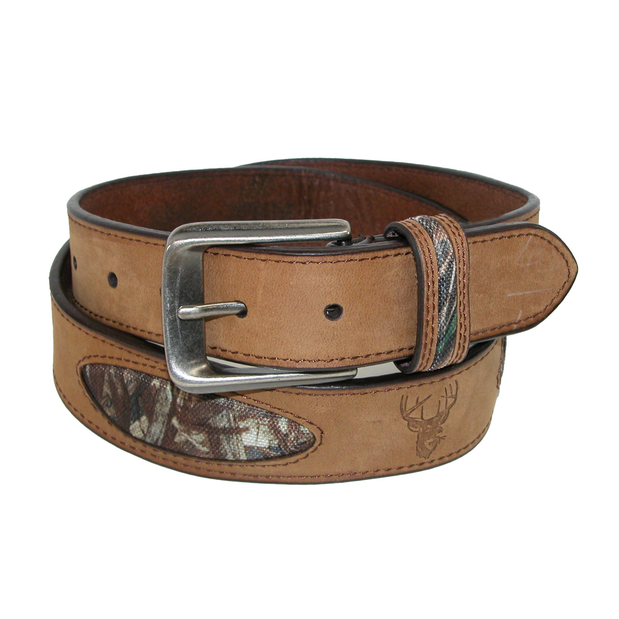 Hickory Creek Mens Crazy Horse Leather With Camo Inlays Deer Embossed Belt