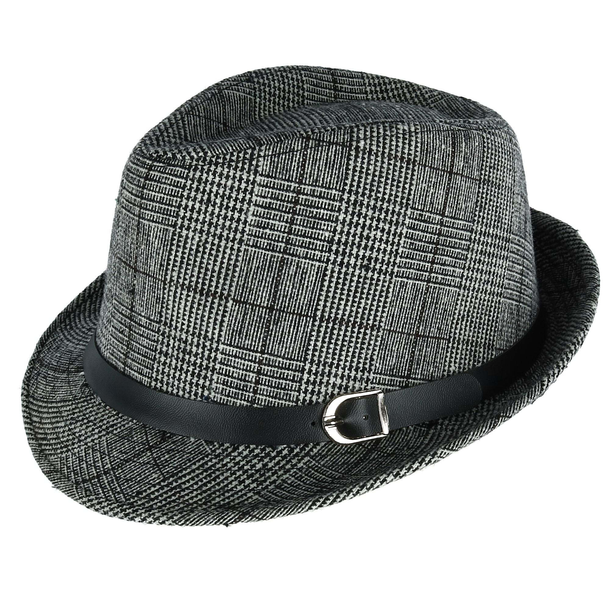 fbf732b89b041 Details about New Westend Men s Plaid Trilby Fedora with Black Band